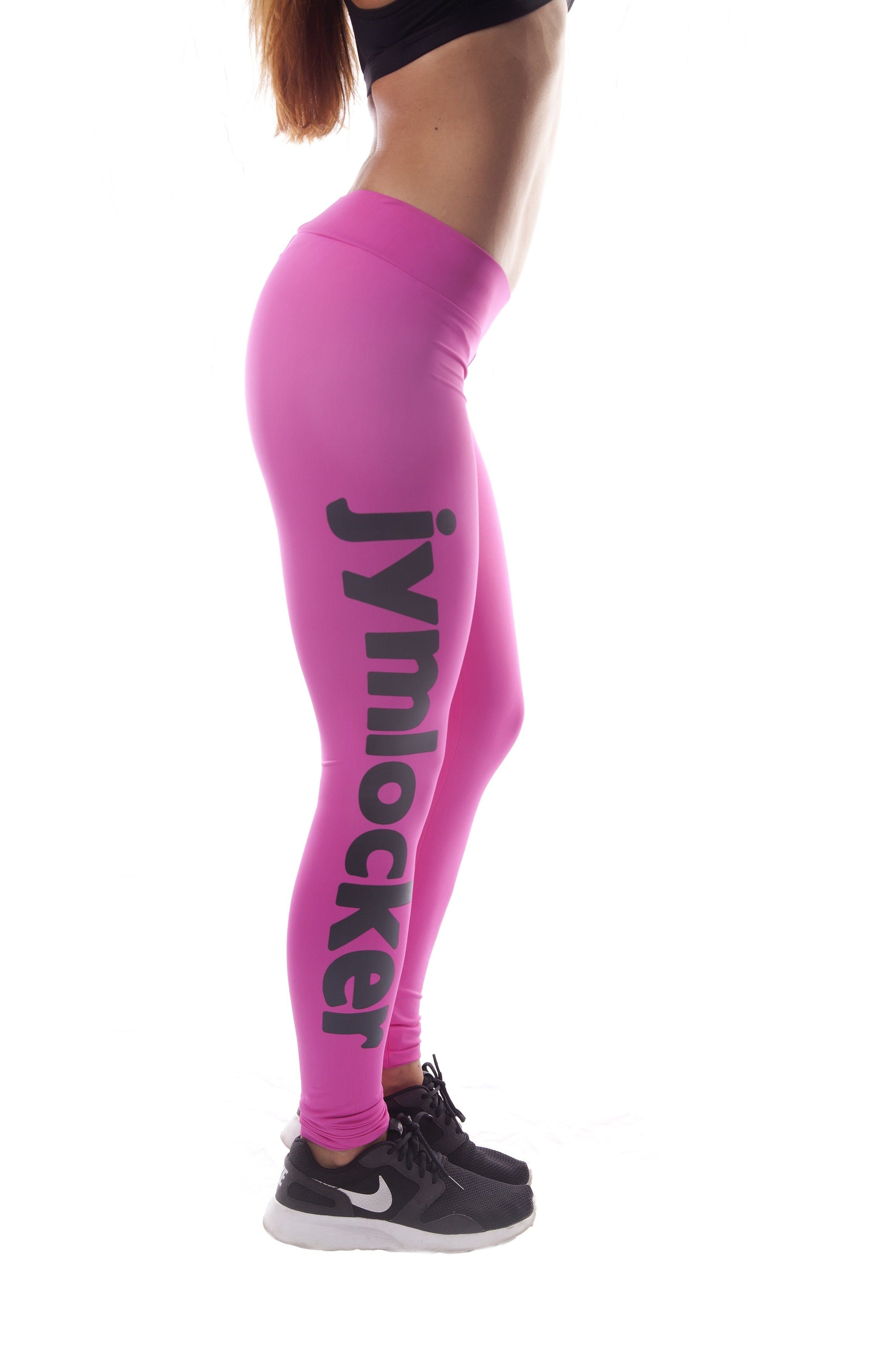Jym Locker Ladies Full Length Compression Tights - Pink/Black