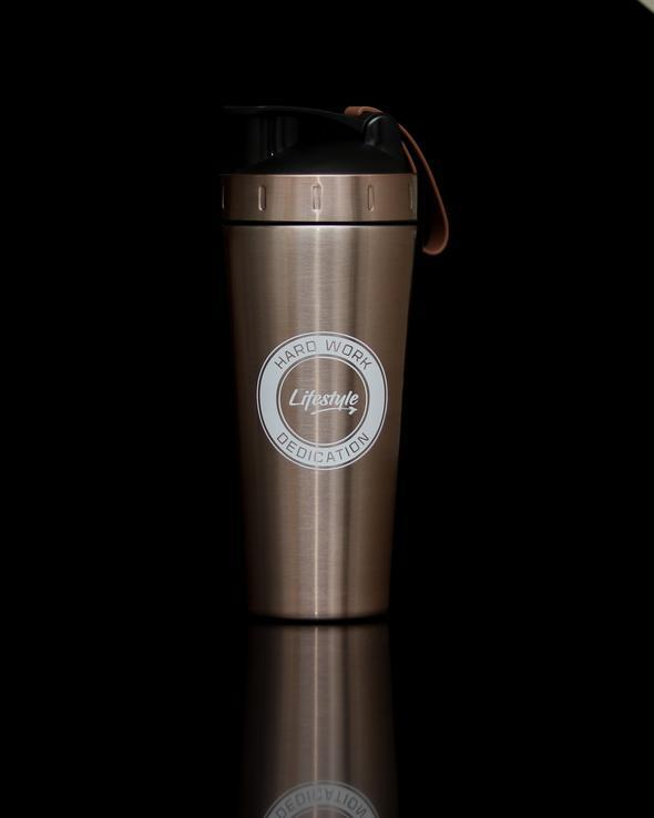 Lifestyle Premium Steel Shaker Bottle - Rose Gold/White