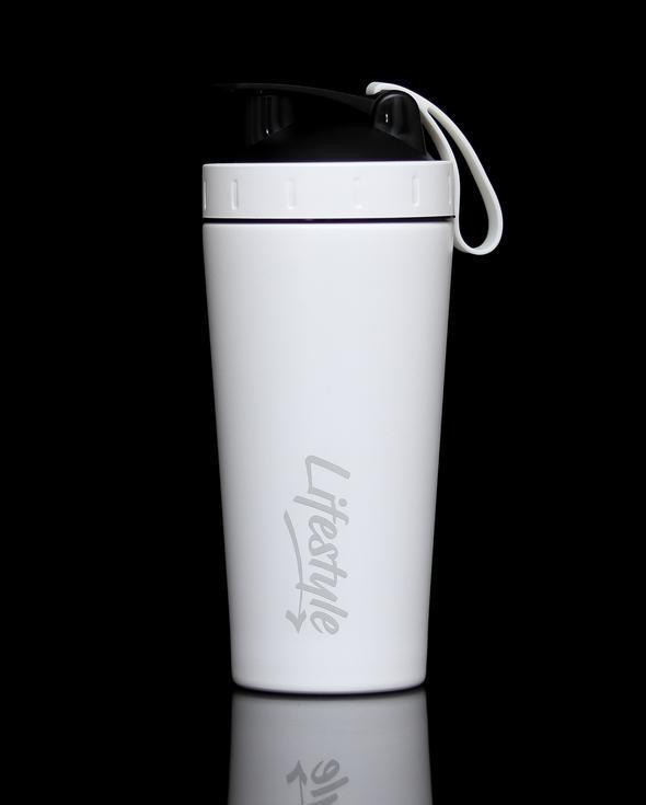 Lifestyle Premium Steel Shaker Bottle - White