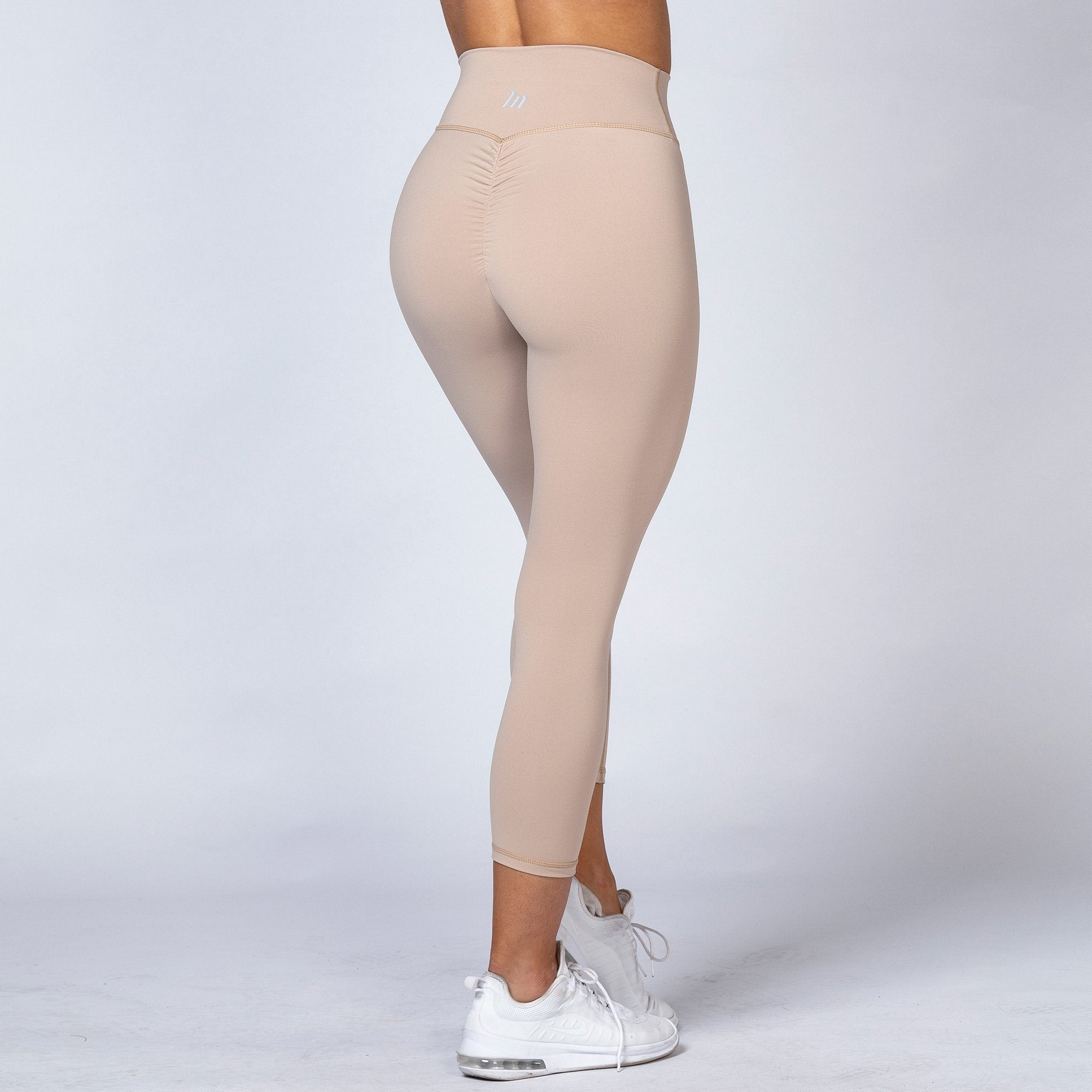 Muscle Nation 7/8 High Waist Scrunch Leggings - Beige