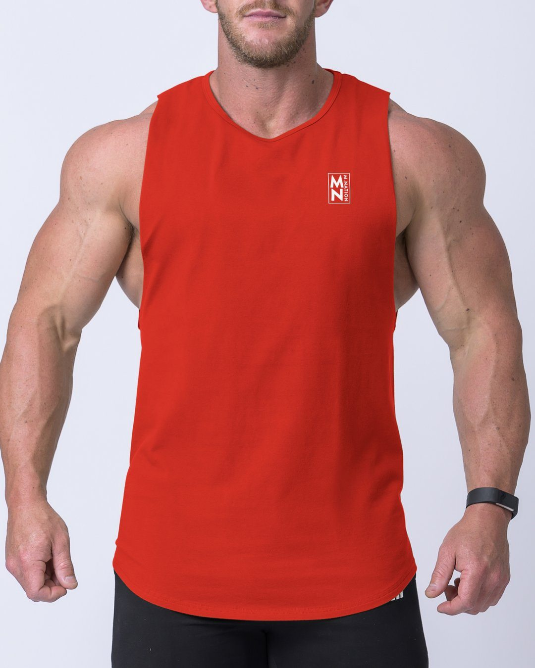 Muscle Nation Box Logo Drop Tank- Red