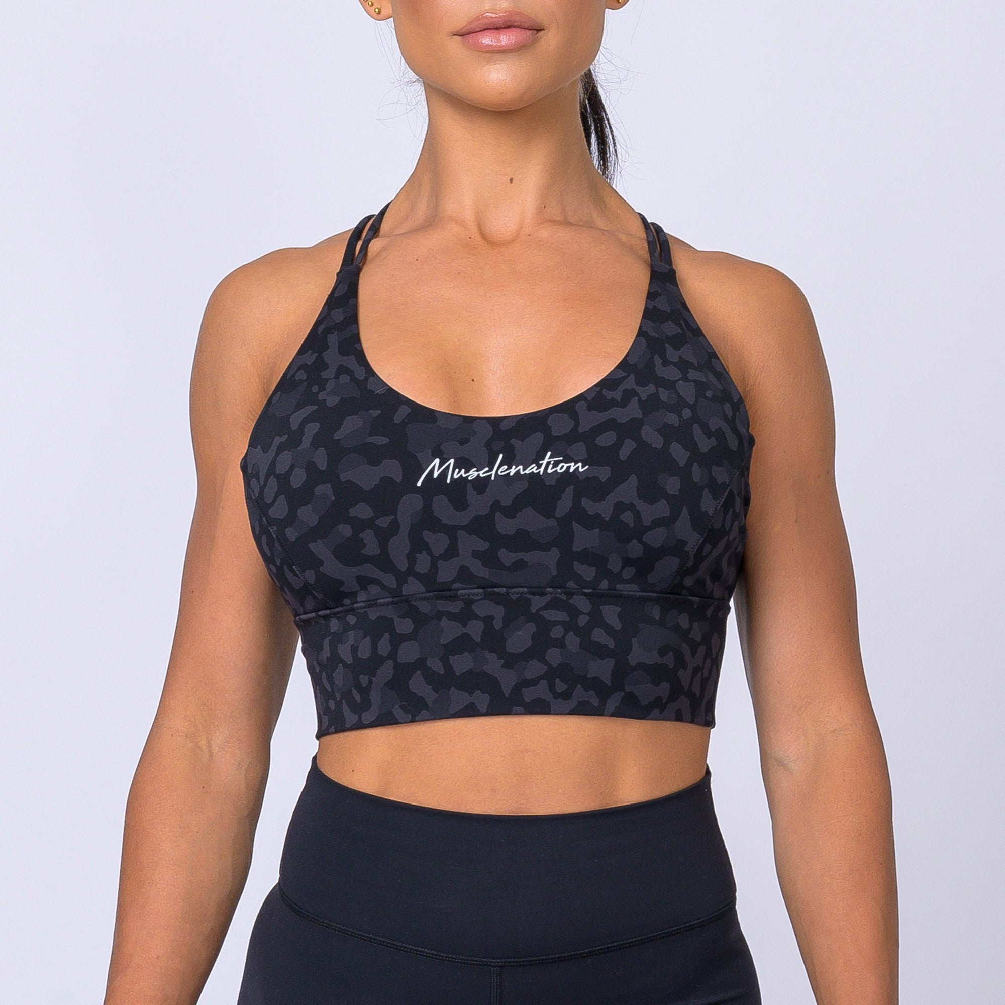 Muscle Nation Butter Motion Sports Bra – Black Grey Leopard