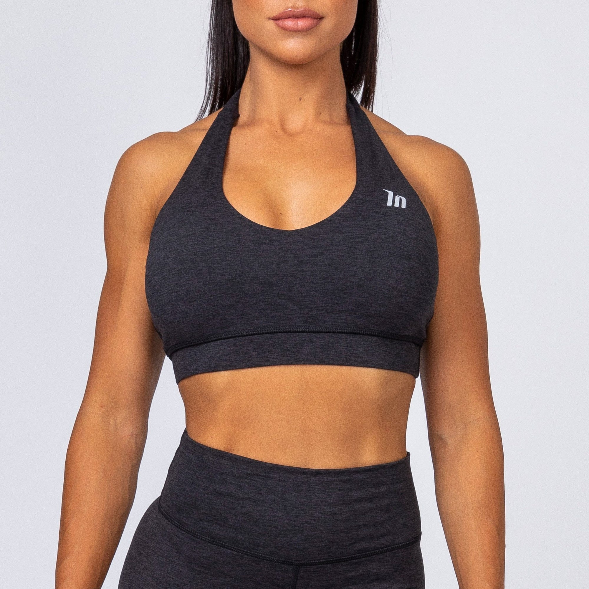 Muscle Nation Cotton-Feel Halter Neck Sports Bra – Heather Black