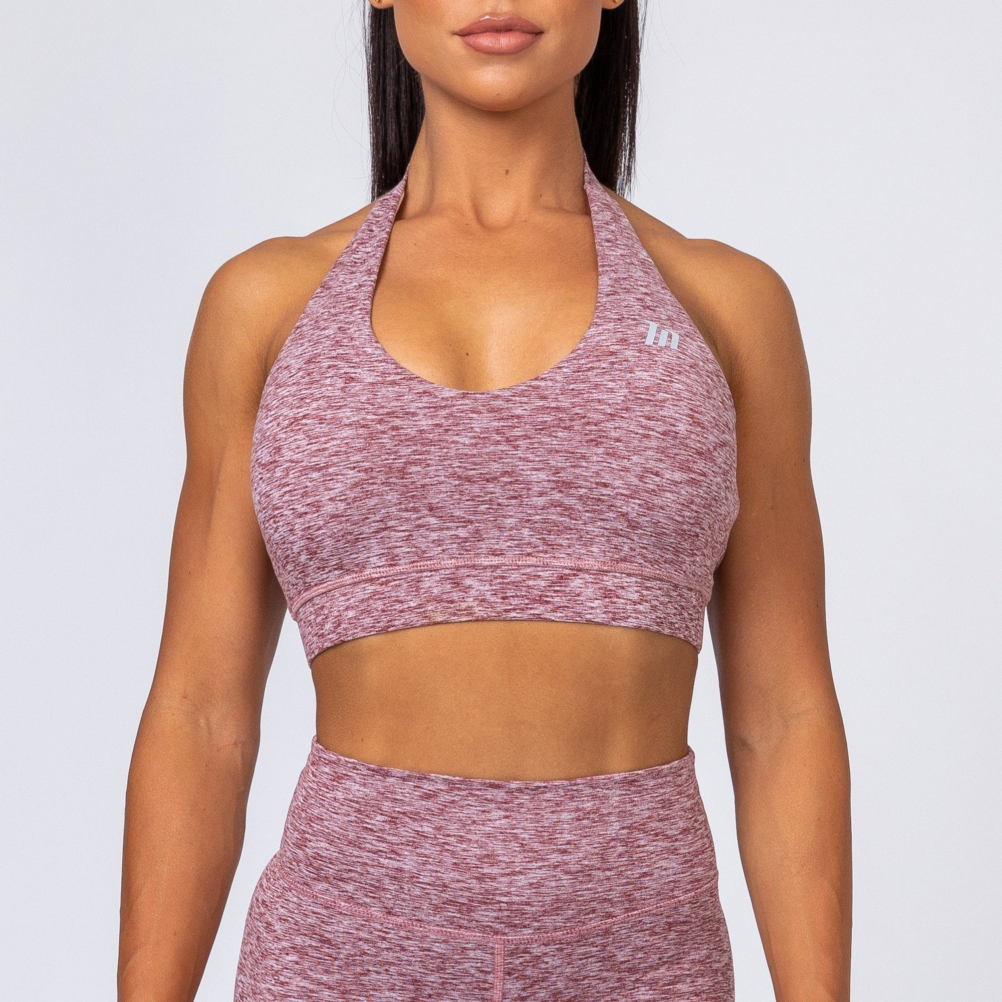Muscle Nation Cotton-Feel Halter Neck Sports Bra – Heather Burgundy