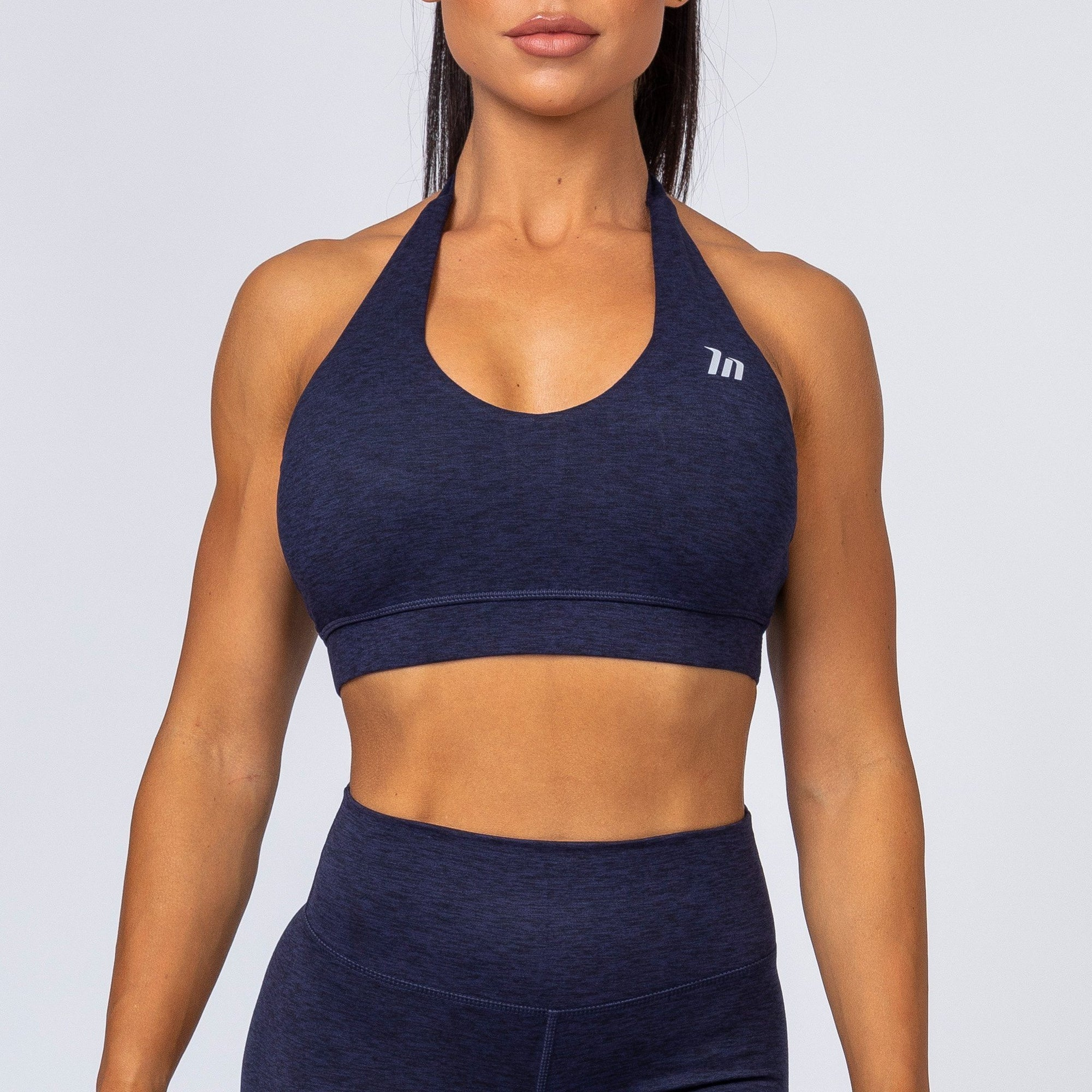 Muscle Nation Cotton-Feel Halter Neck Sports Bra – Heather Navy