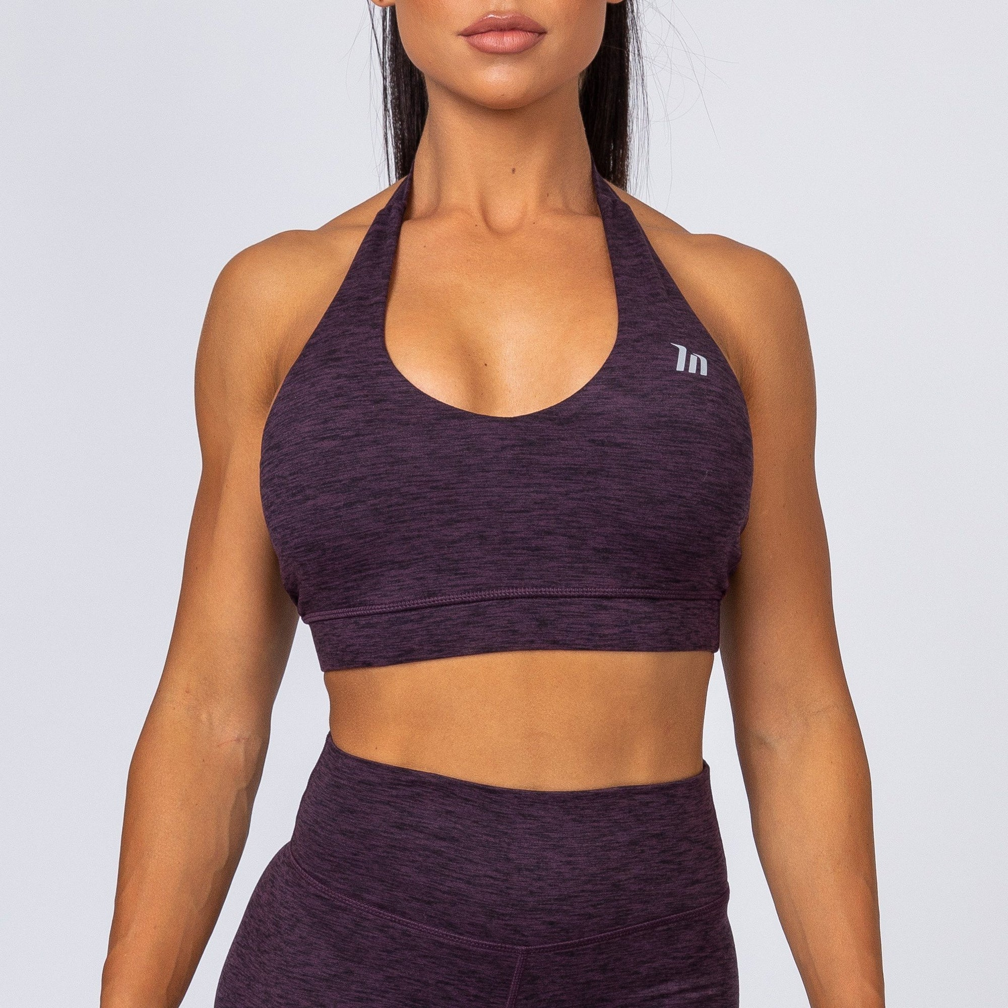 Muscle Nation Cotton-Feel Halter Neck Sports Bra – Heather Plum
