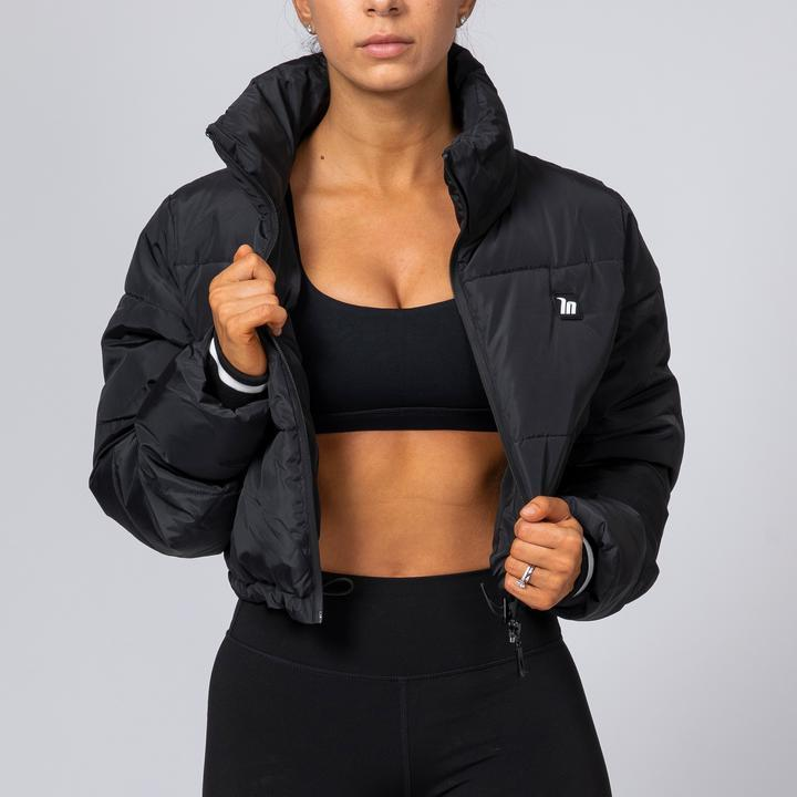 Muscle Nation Cropped Puffer Jacket - Black