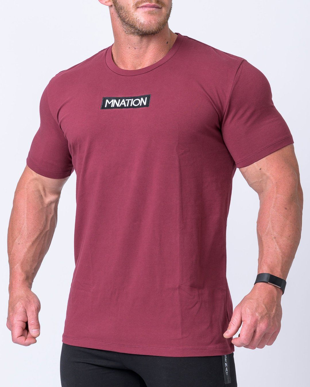 Muscle Nation Embroidery Tee- Burgundy