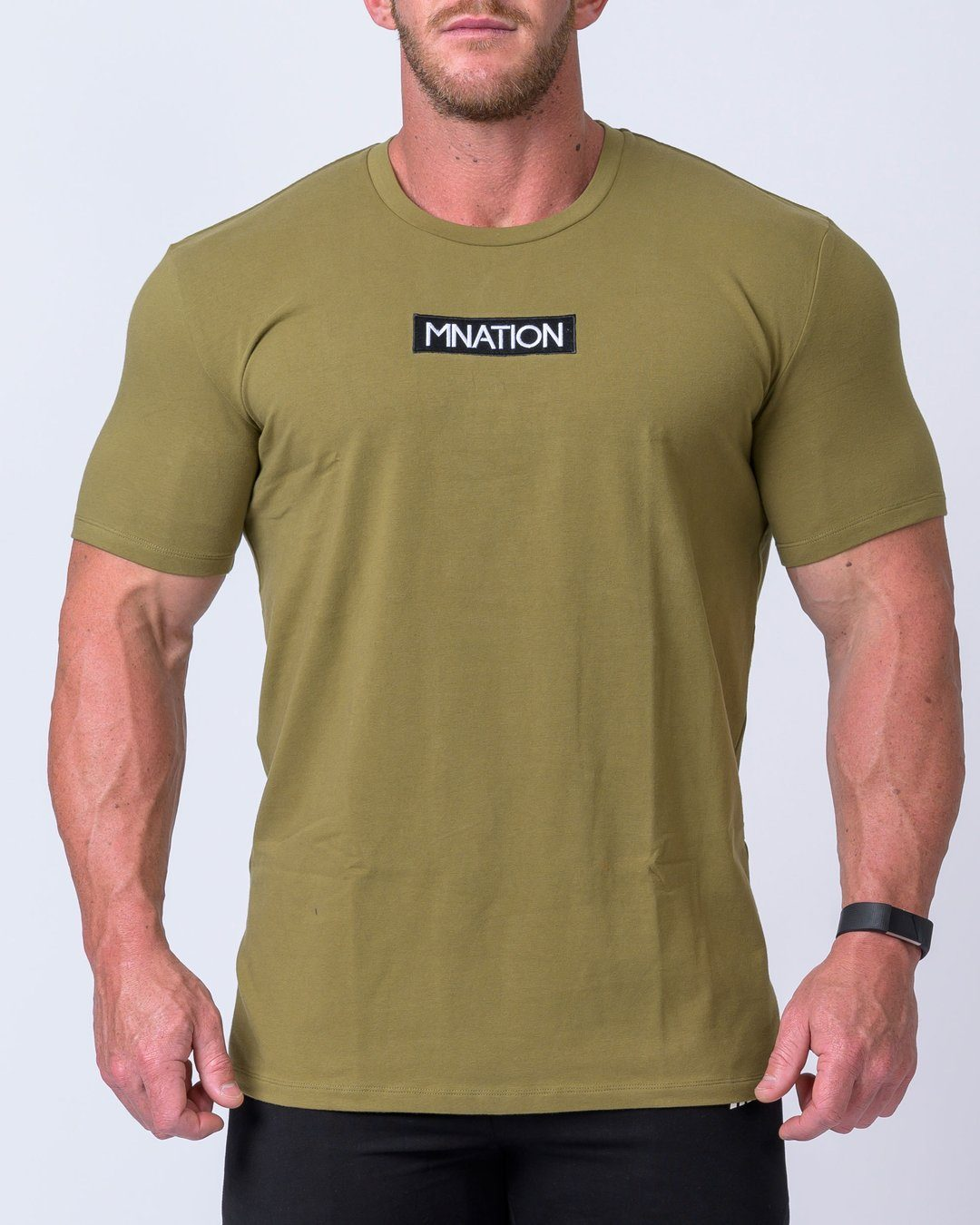 Muscle Nation Embroidery Tee- KHAKI