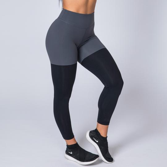 Muscle Nation High Waist Scrunch Two Tone Leggings - Black/Grey