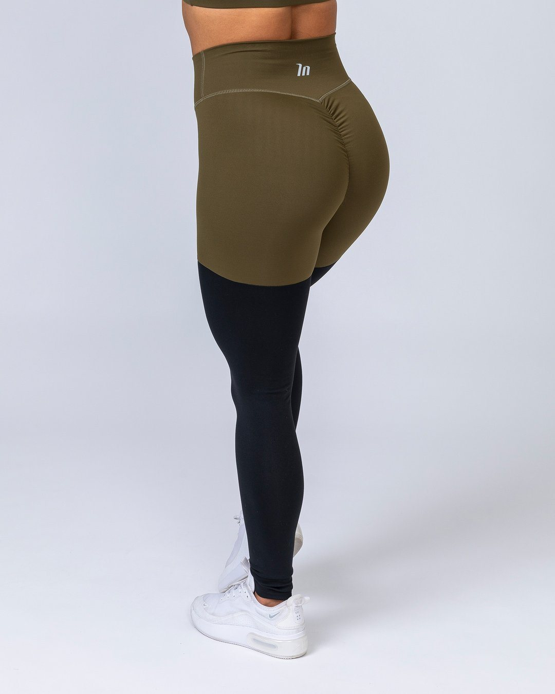 Muscle Nation High Waist Scrunch Two Tone Leggings - Black/Khaki