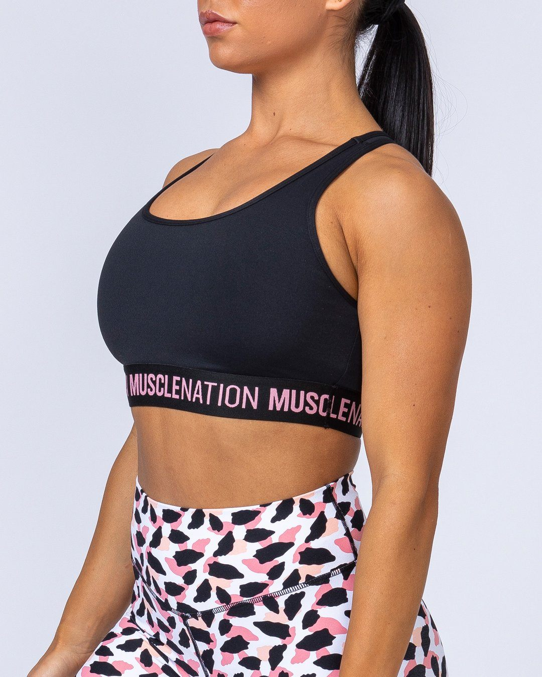 Muscle Nation Knockout Bra - Black/Pink Sherbet