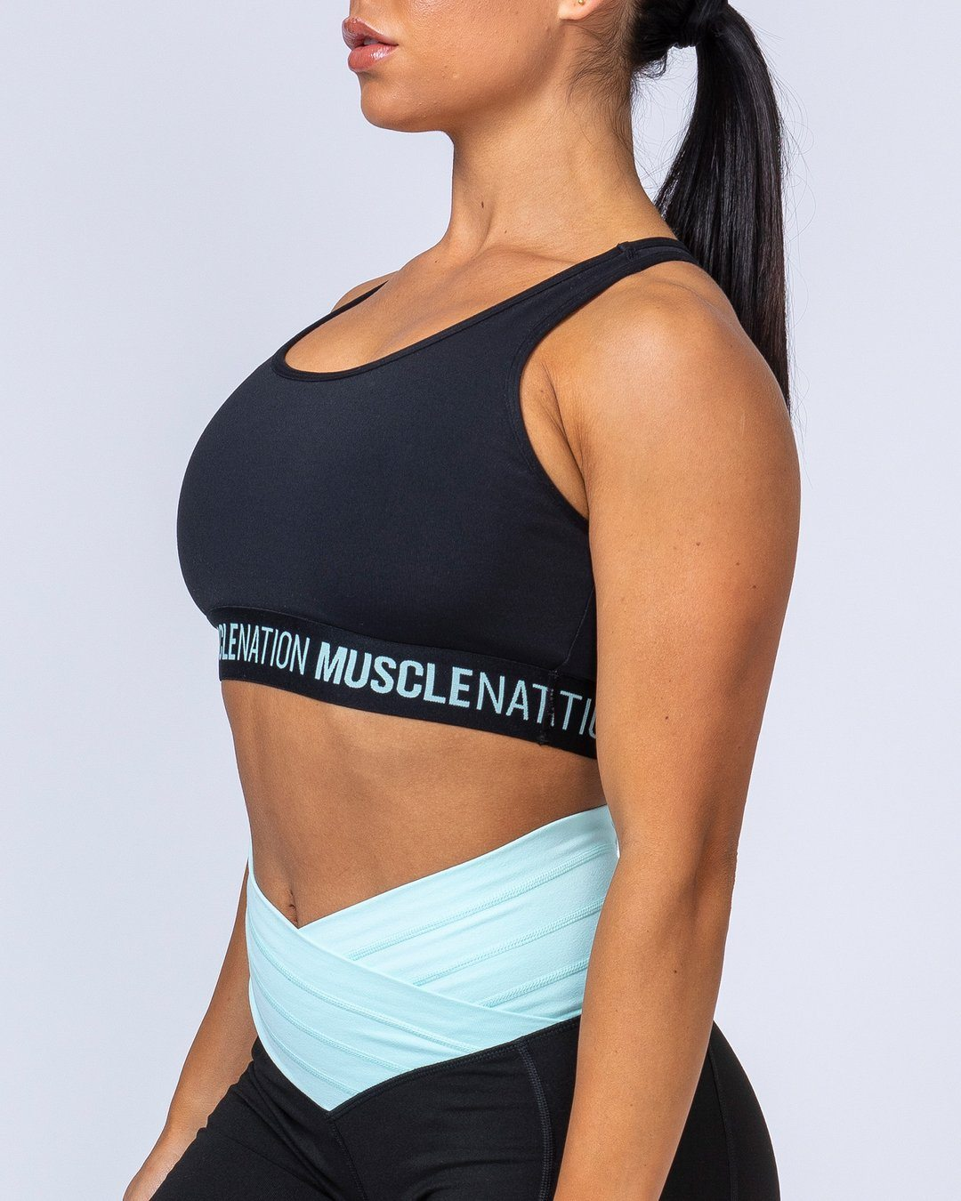 Muscle Nation Knockout Bra - Black/Sky Blue
