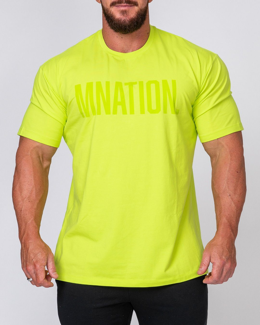 Muscle Nation Mens Oversized Tonal Tee - Acid Lime