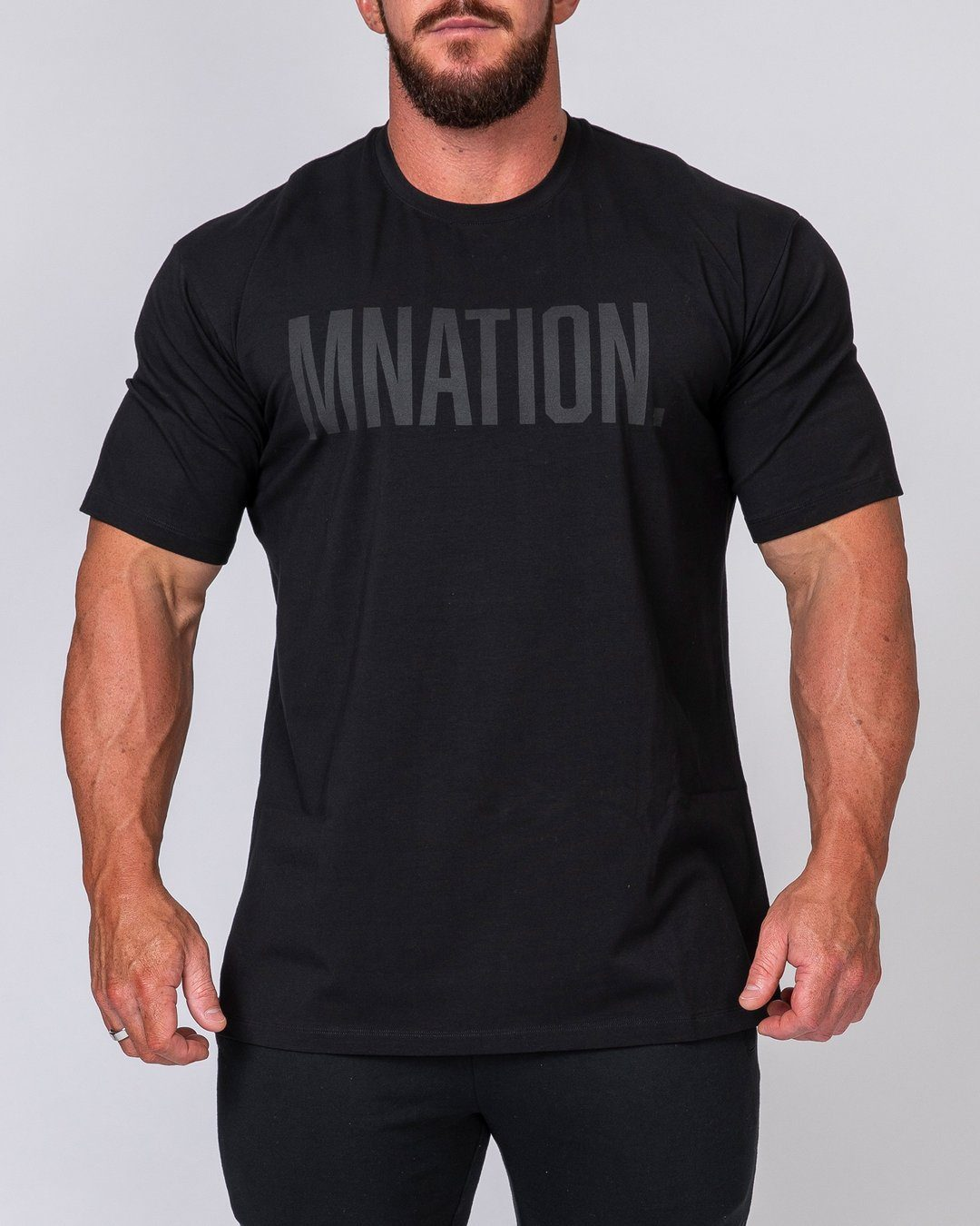 Muscle Nation Mens Oversized Tonal Tee - Black