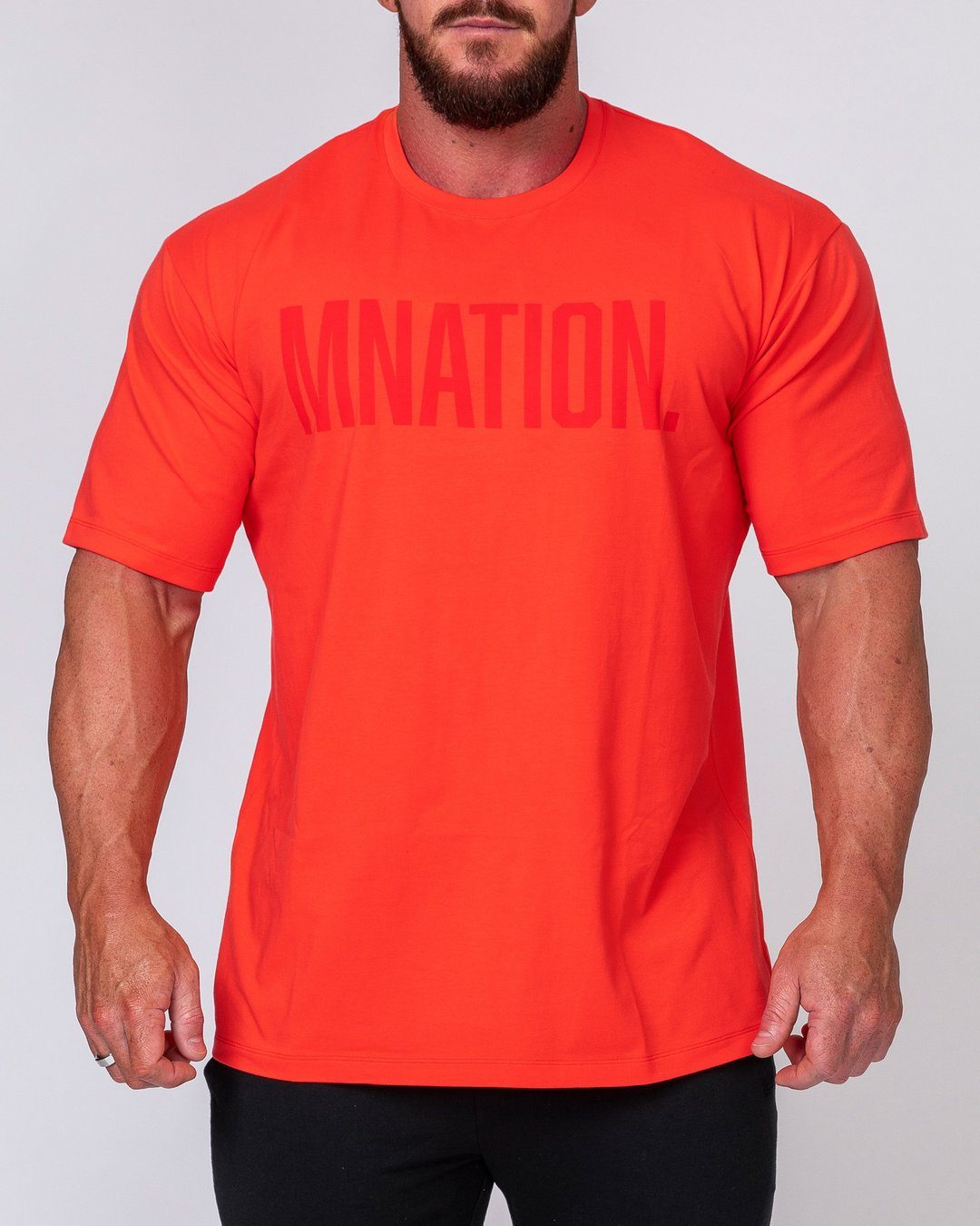 Muscle Nation Mens Oversized Tonal Tee - Infrared