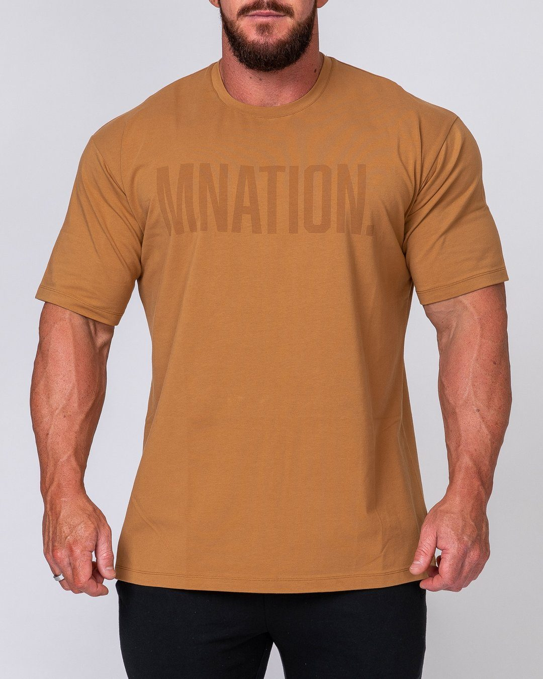 Muscle Nation Mens Oversized Tonal Tee - Latte