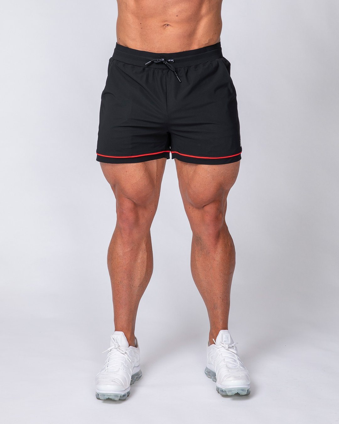 Muscle Nation Mens Squat Shorts - Black/ Red