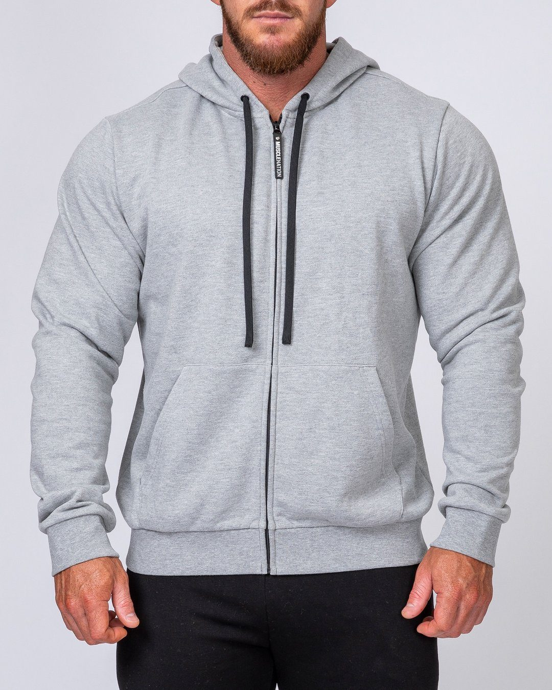 Muscle Nation Mens Zip Up Hoodie - Grey