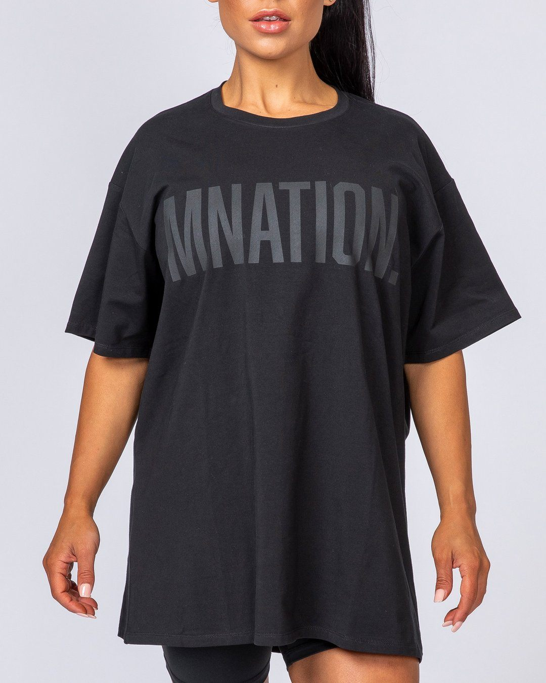 Muscle Nation Oversized Tonal Tee - Black