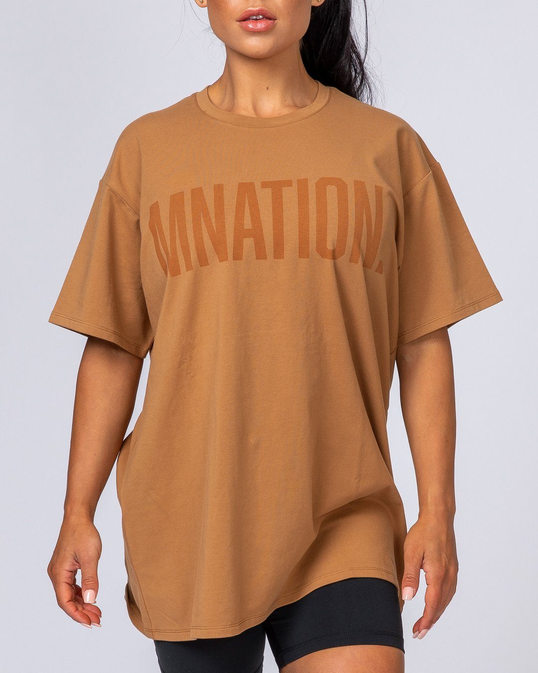 Muscle Nation Oversized Tonal Tee - Latte