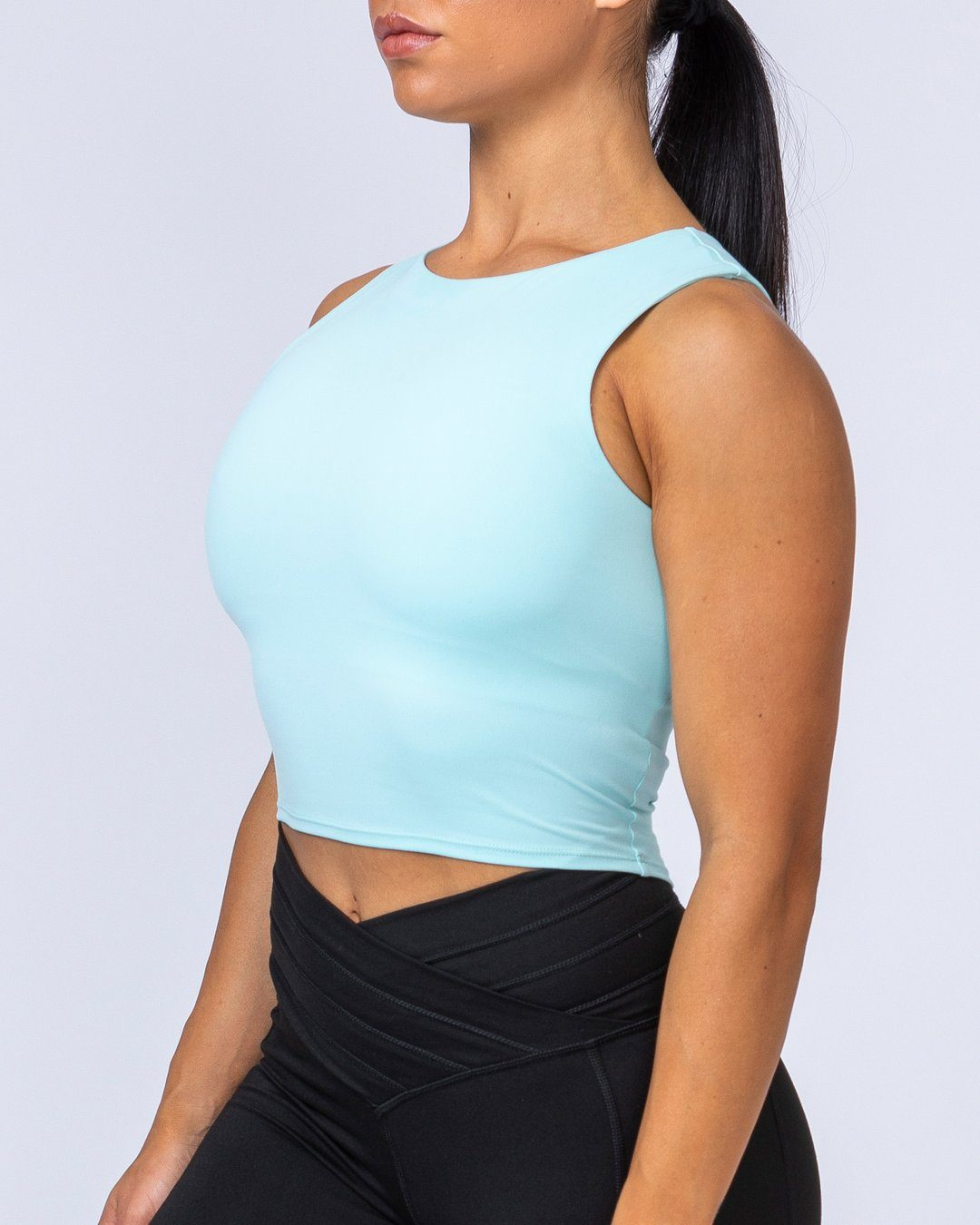 Muscle Nation Prize Fighter Cropped Tank - Sky Blue