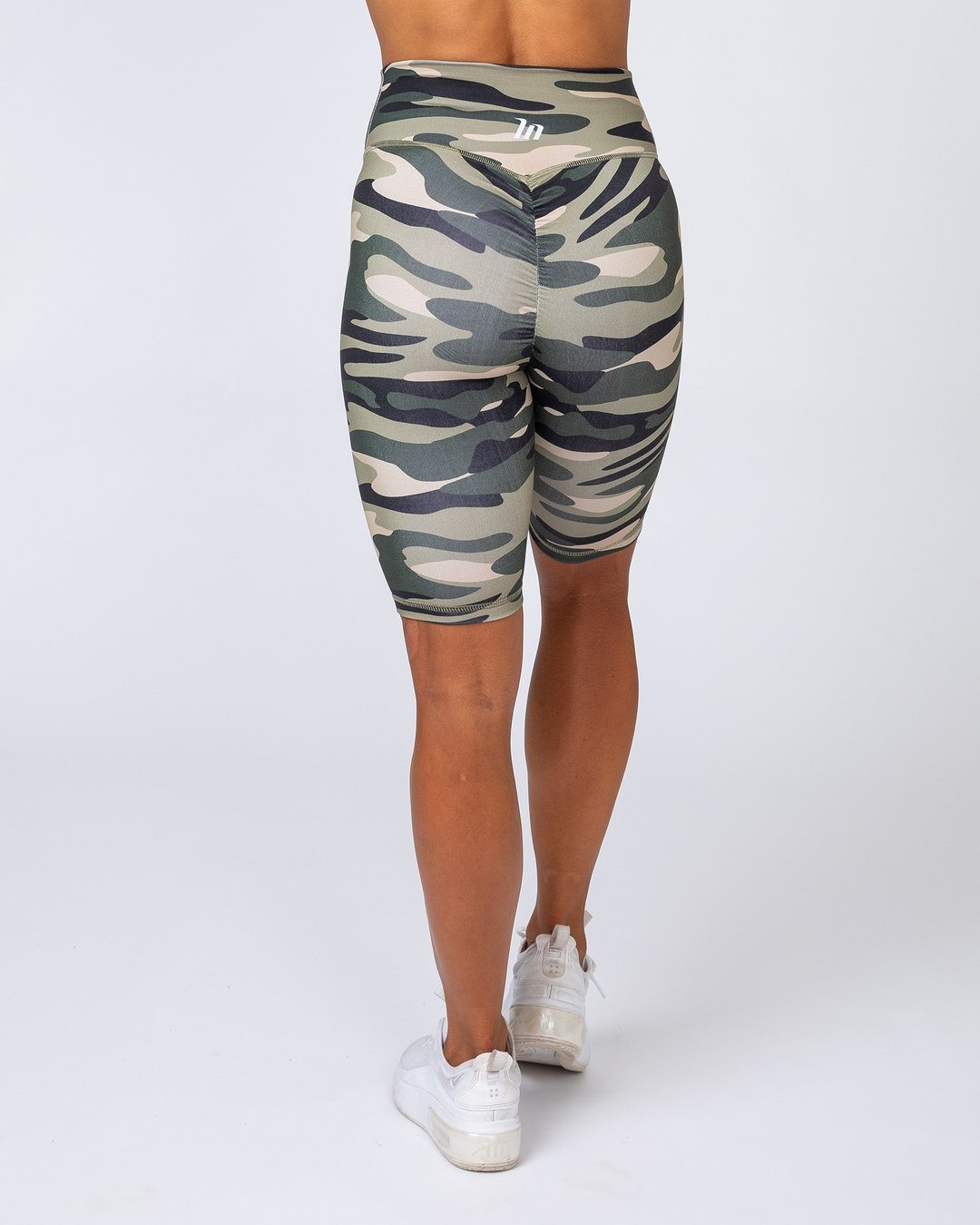 Muscle Nation Referee Length High Waist Scrunch - Green Camo