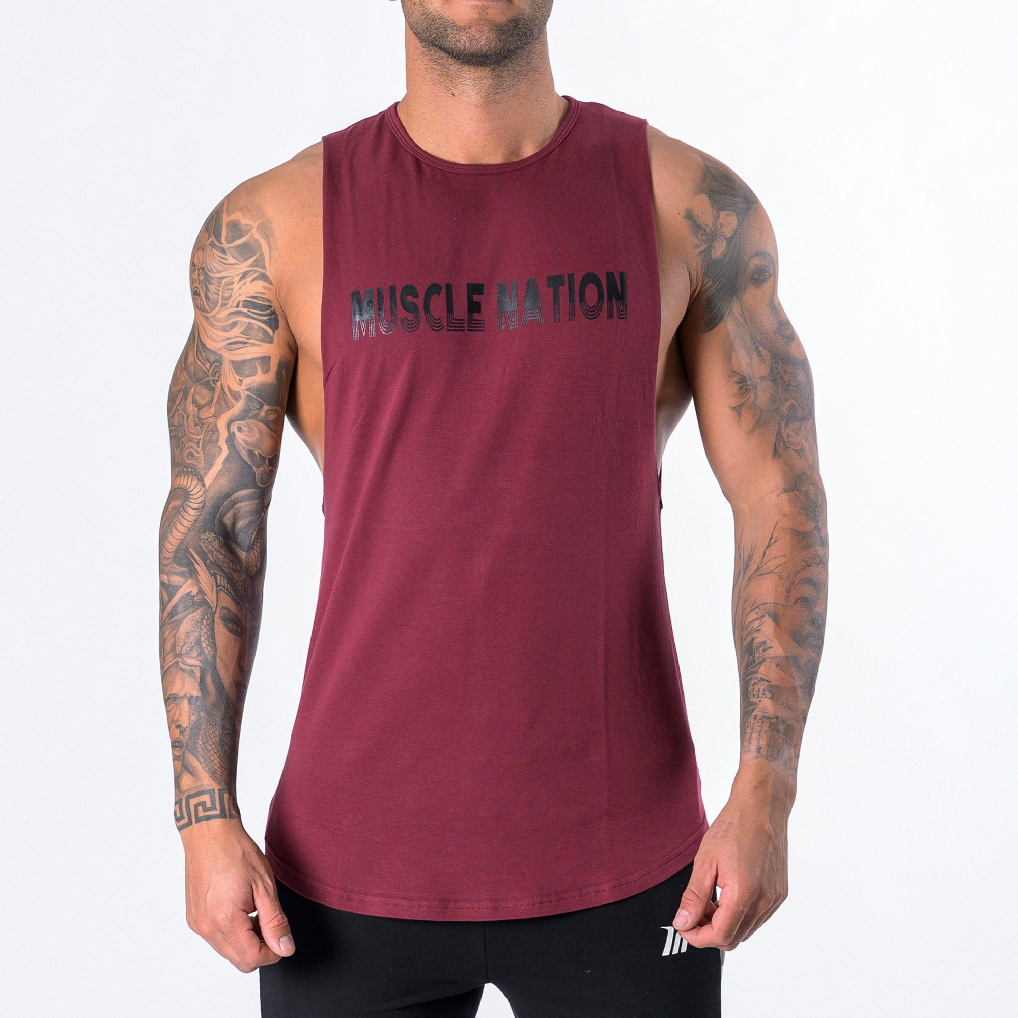 Muscle Nation Retro Tank - Burgundy