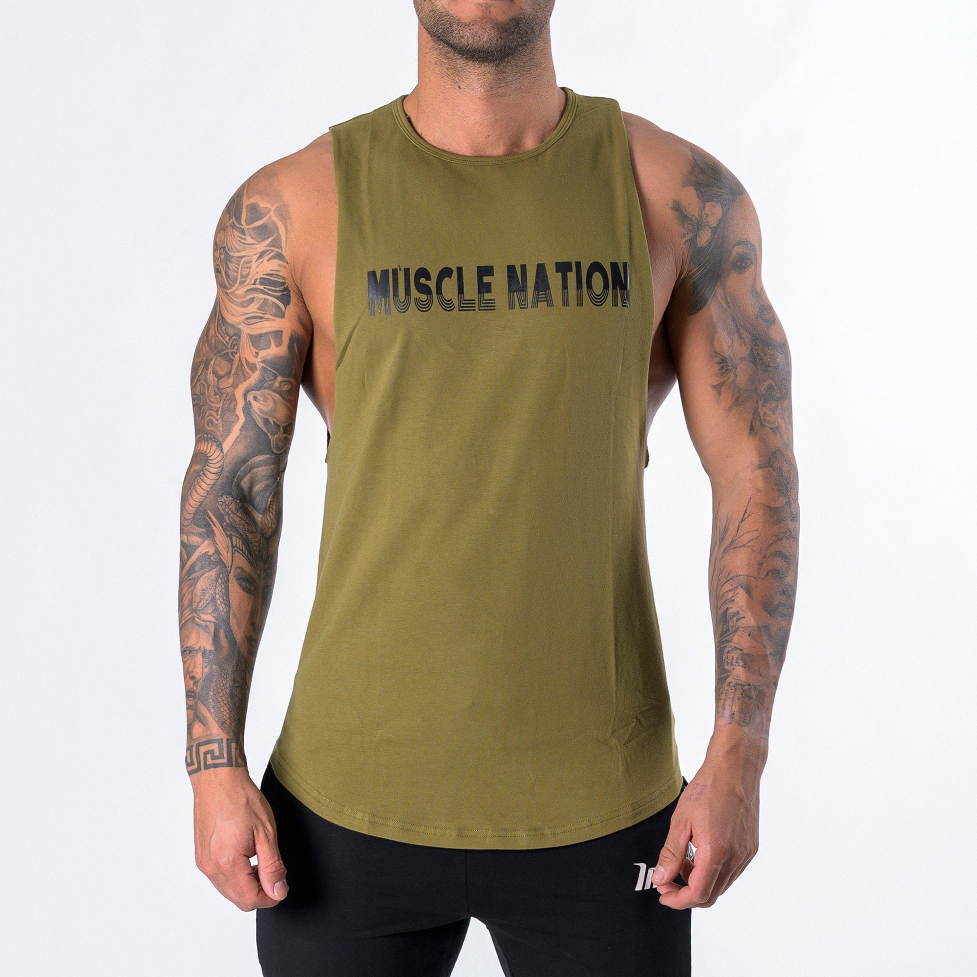 Muscle Nation Retro Tank - Khaki