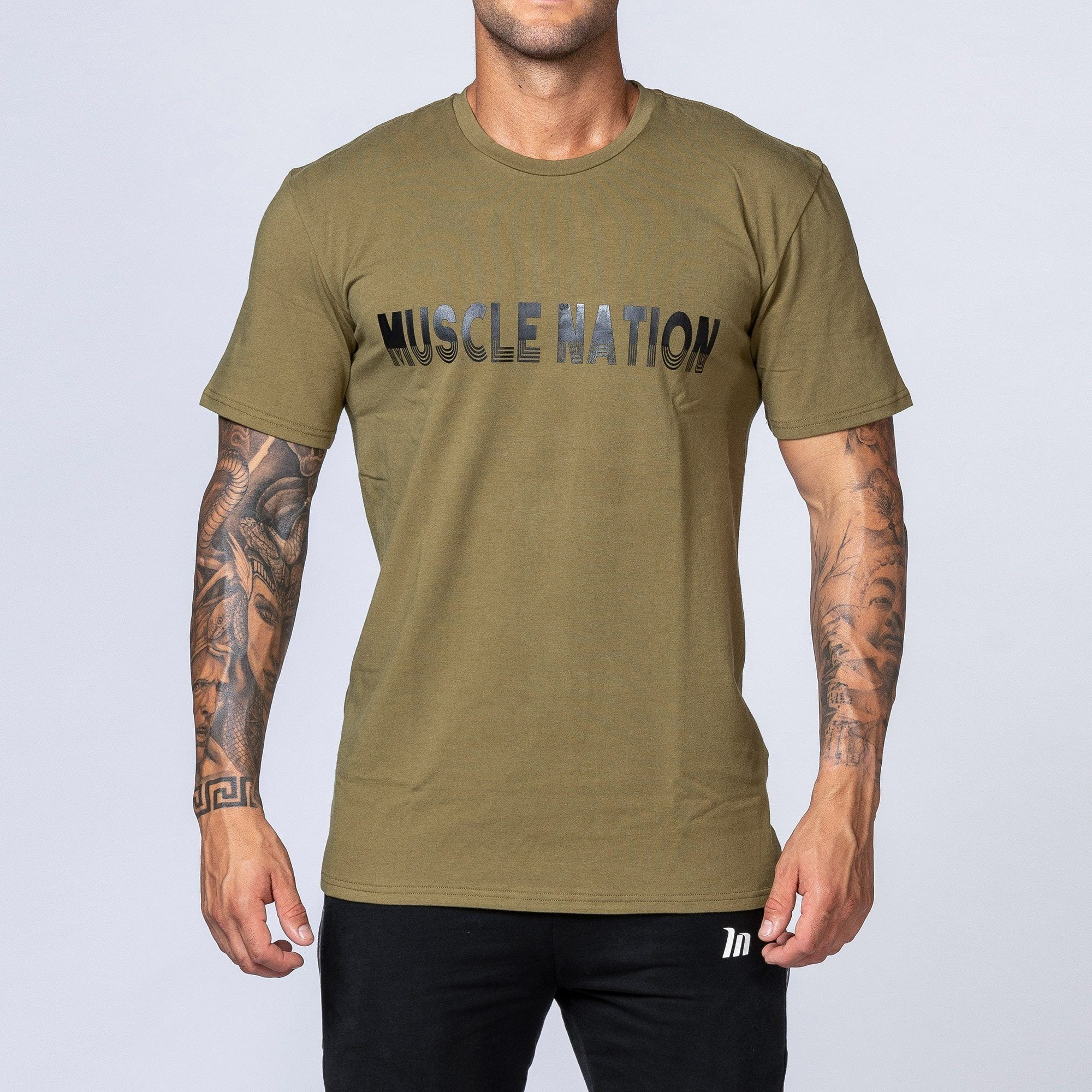 Muscle Nation Retro Tee - Khaki