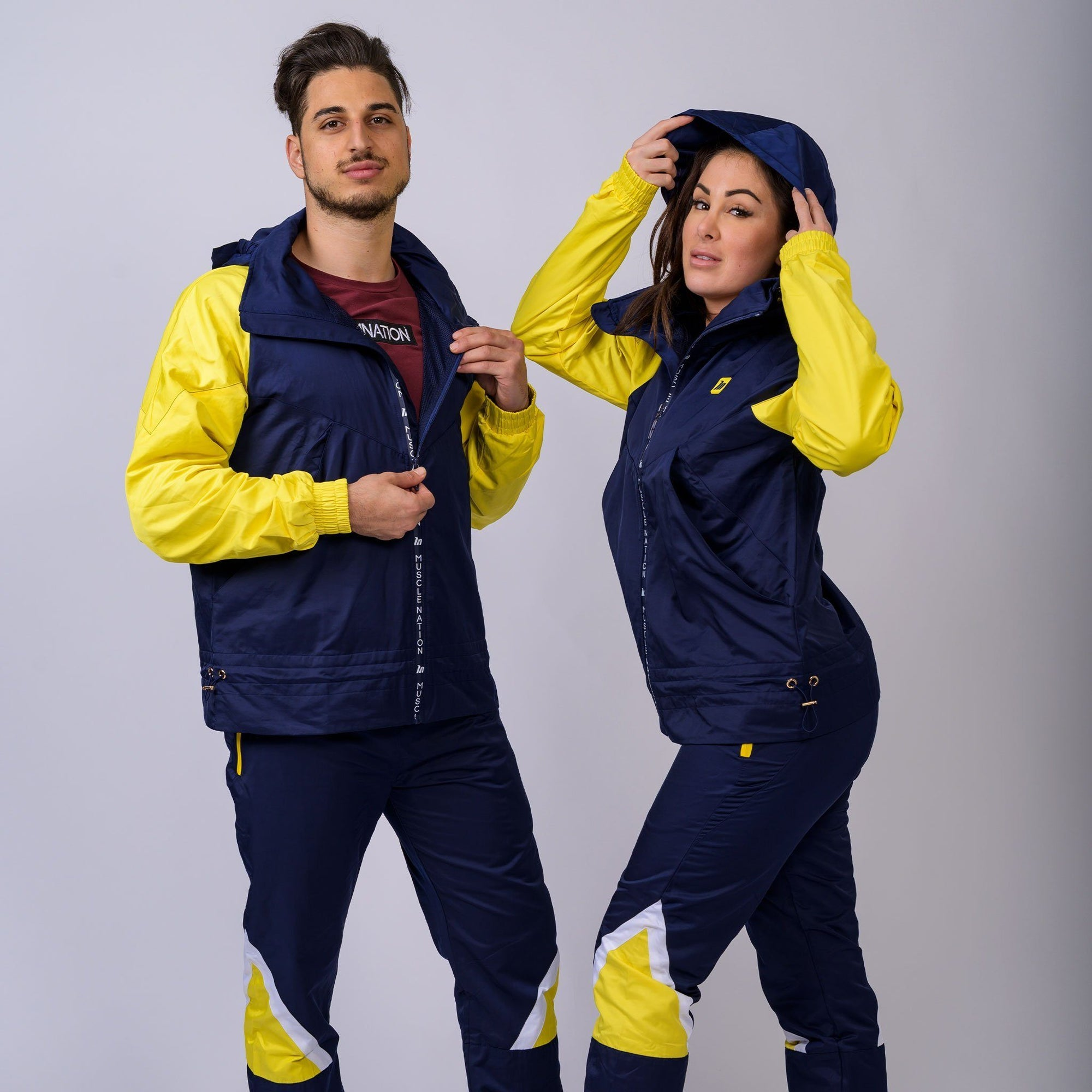 Muscle Nation Retro Unisex Jacket - Navy/Yellow