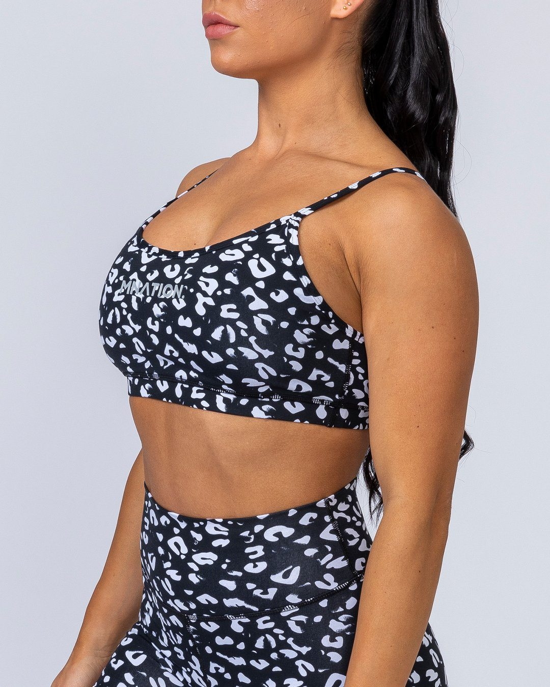 Muscle Nation Scoop Bra - Black Leopard