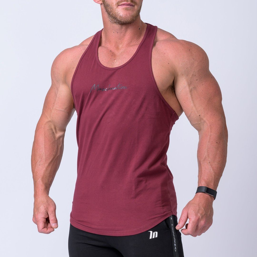 Muscle Nation Signature Y Back Singlet - Burgundy