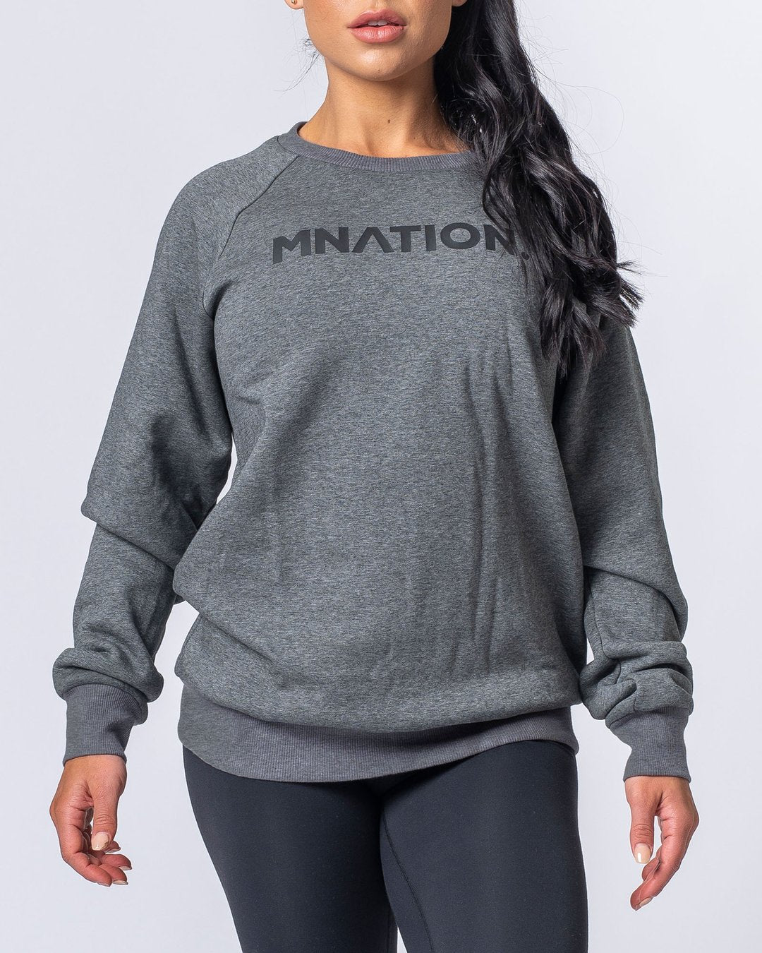 Muscle Nation Slouchy Jumper - Charcoal