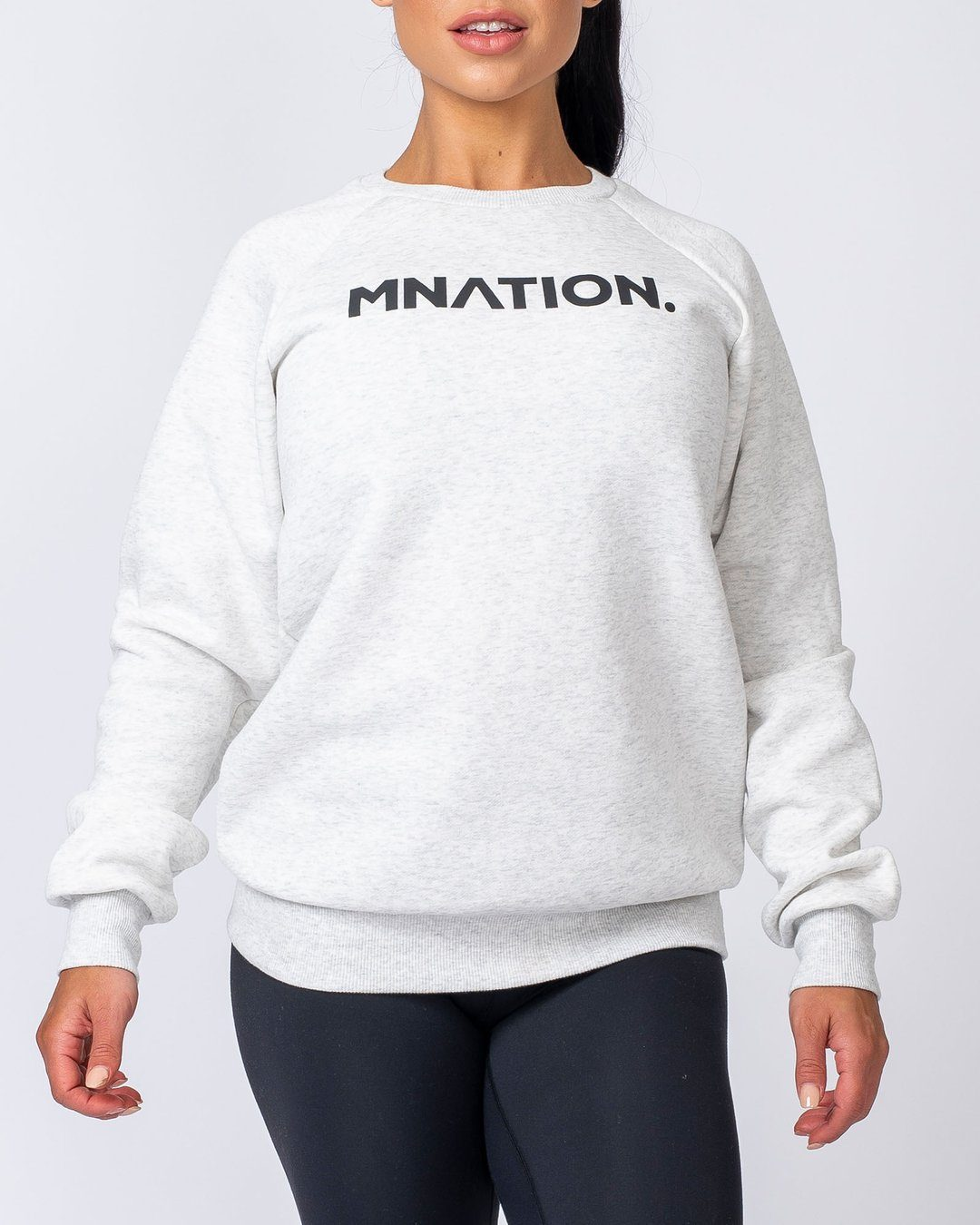 Muscle Nation Slouchy Jumper - White Marl