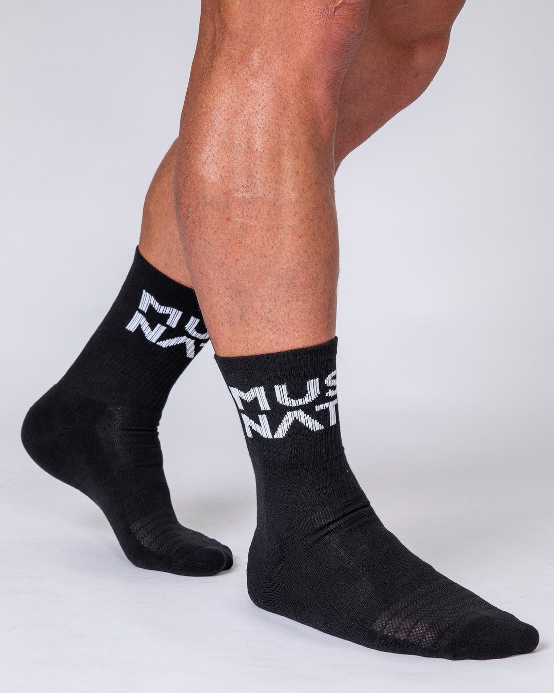 Muscle Nation Unisex Crew Socks - 2 Pack (Black, White)