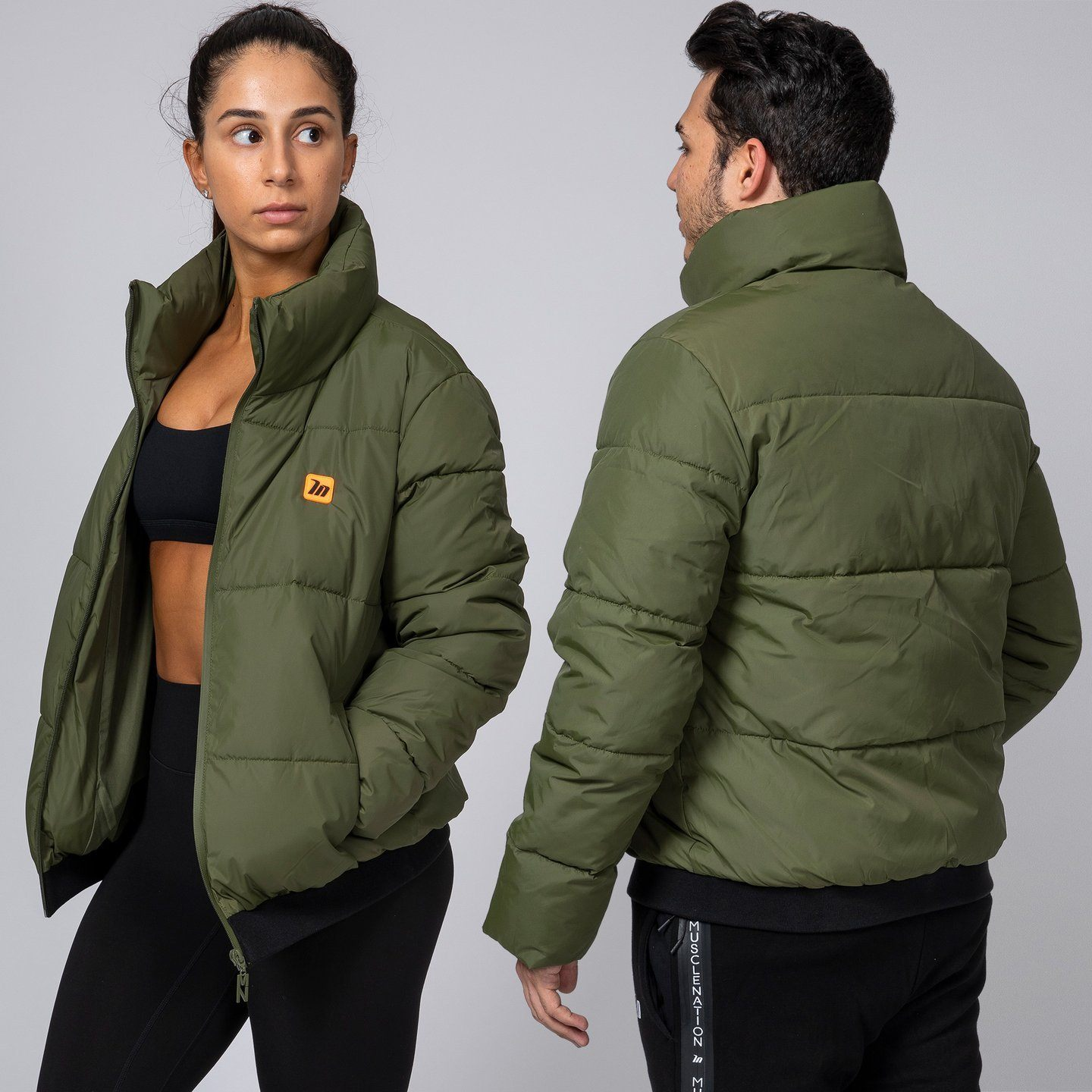 Muscle Nation Unisex Puffer Jacket - Khaki