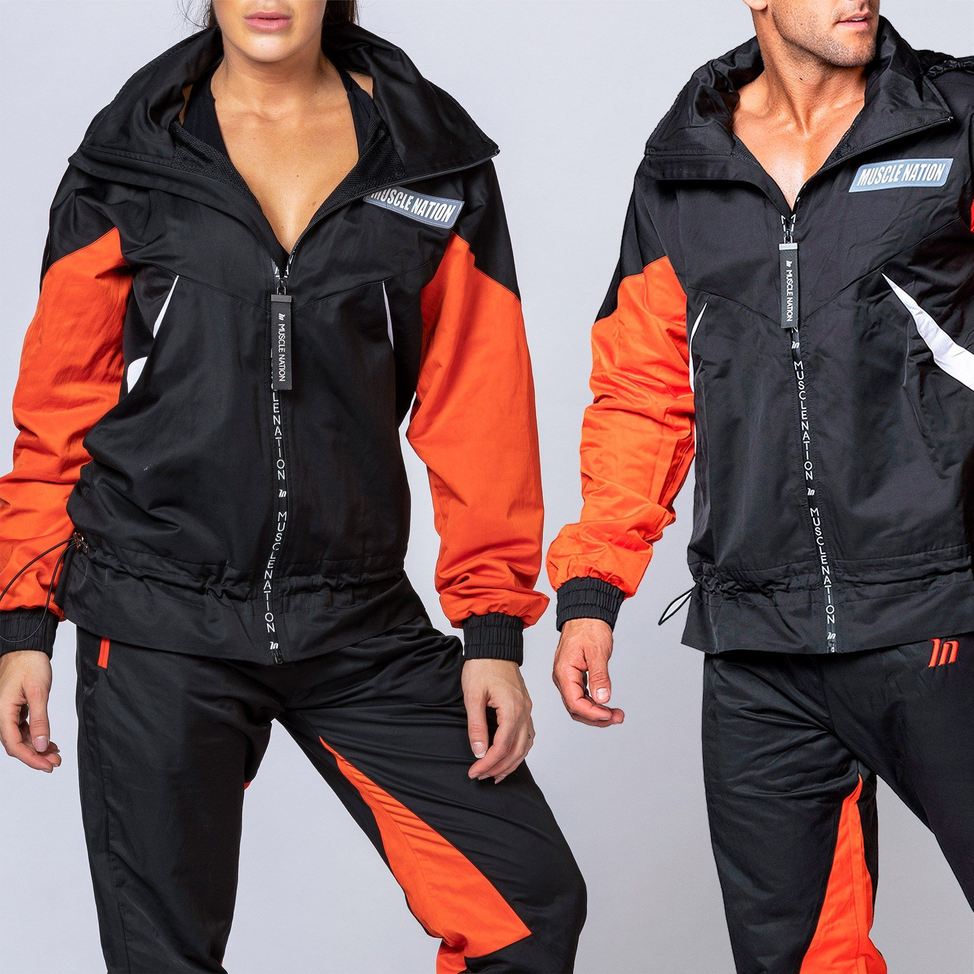 Muscle Nation Unisex Retro Jacket - Black/Blood Orange
