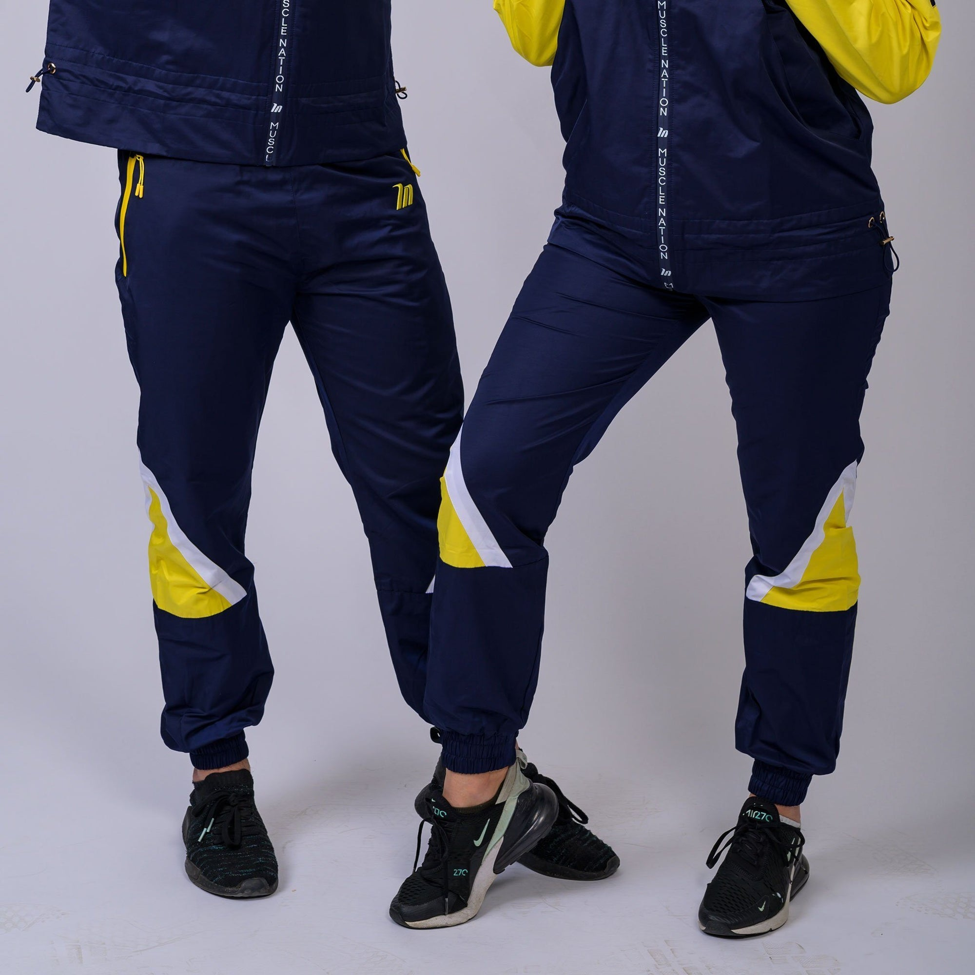 Muscle Nation Unisex Retro Tracksuit Pants - Navy/Yellow