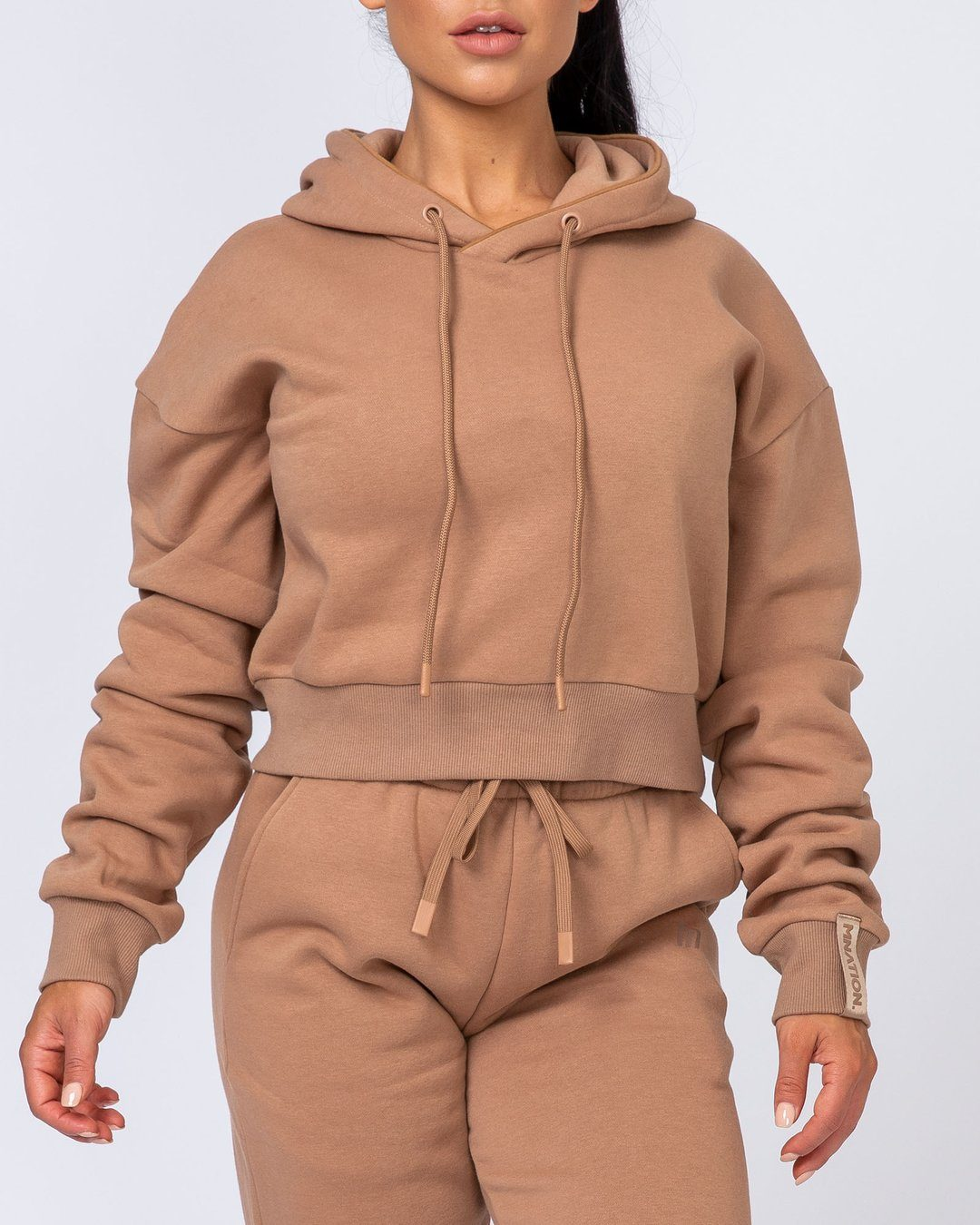 Muscle Nation Warm-Up Cropped Hoodie - Latte