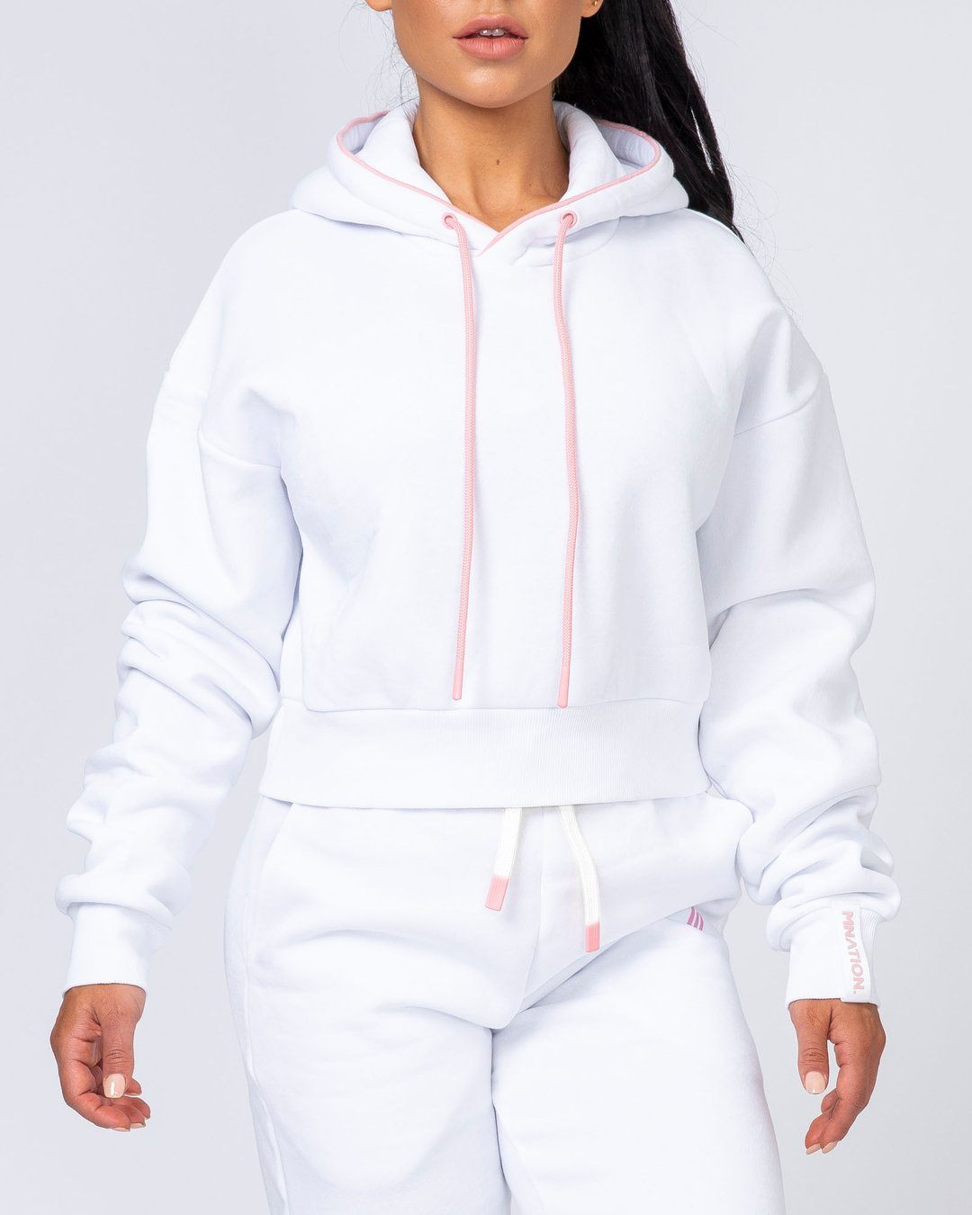 Muscle Nation Warm-Up Cropped Hoodie - White