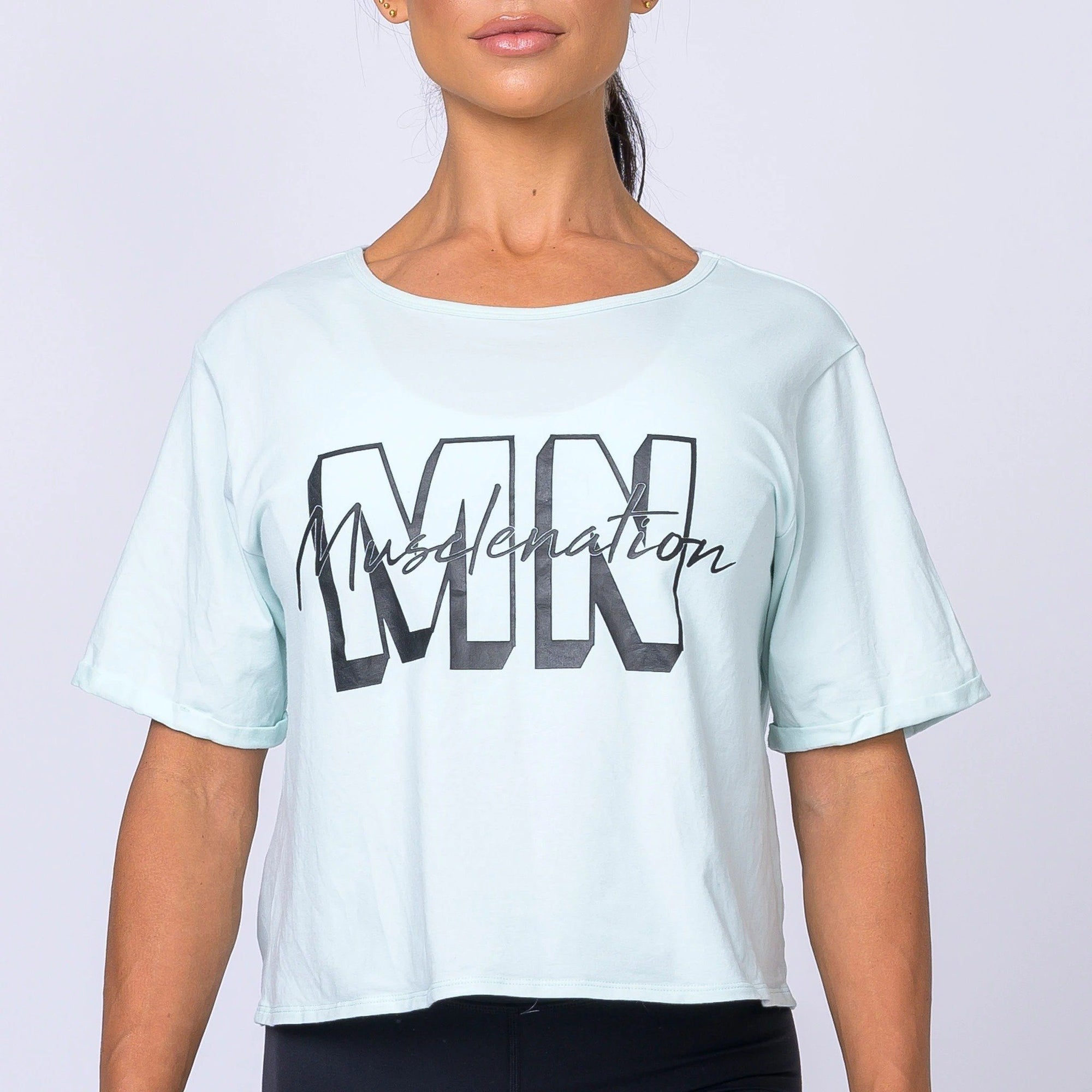 Muscle Nation Womens Casual MNxSignature Tee - Mint Green