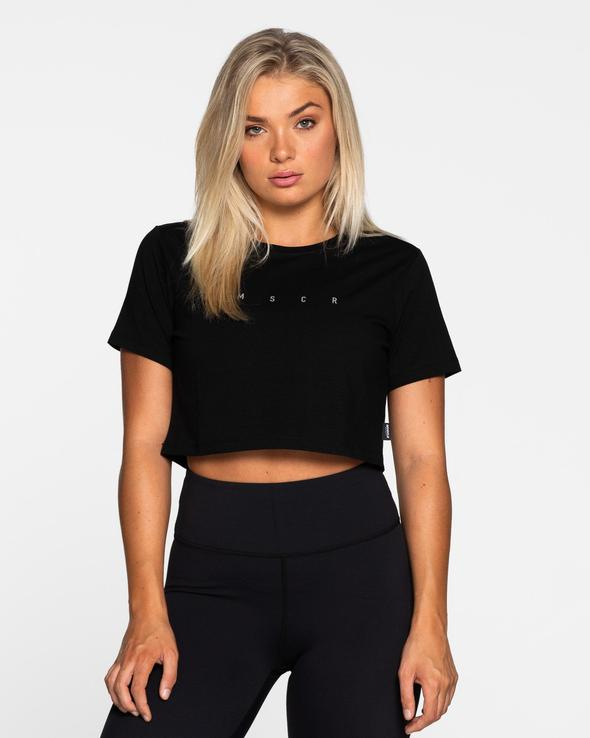 Muscle Republic Cropped Tee - Black
