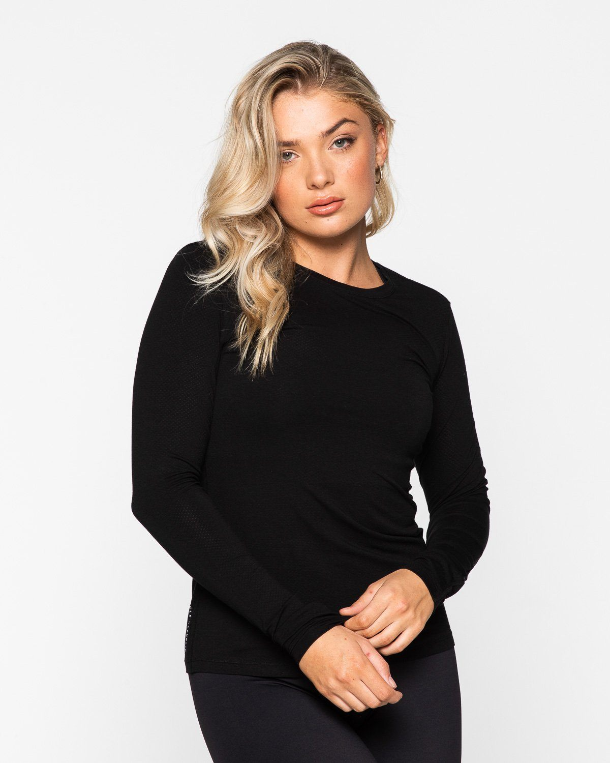 Muscle Republic Myla Fitted Long Sleeve Tee - Black