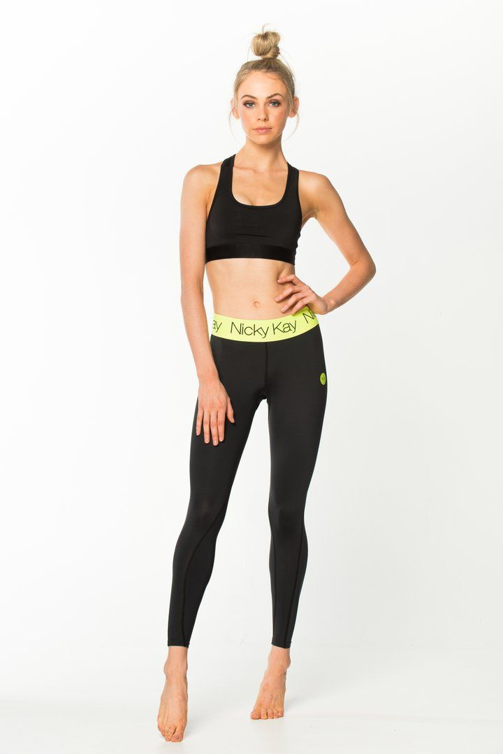 Nicky Kay FitGlam Compression Tights - Black w/ Neon Yellow Waistband