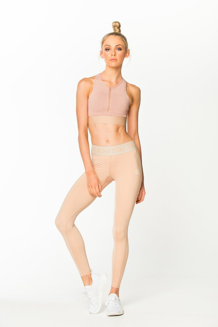 Nicky Kay FitGlam Compression Tights - Blush w/ Creme Waistband