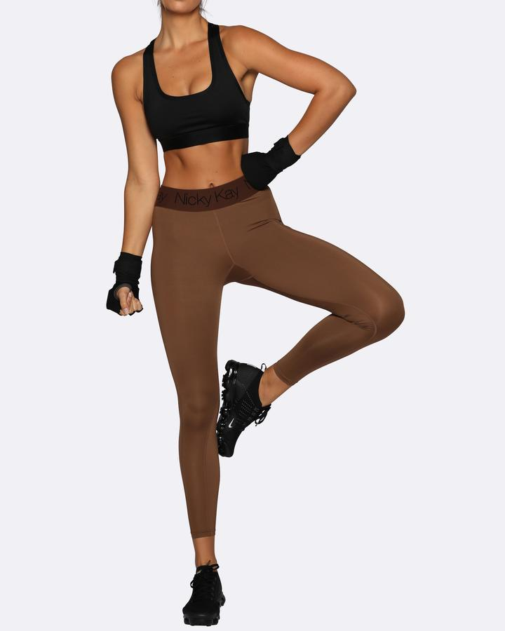 Nicky Kay FitGlam Compression Tights - Brown w/ Brown Waistband