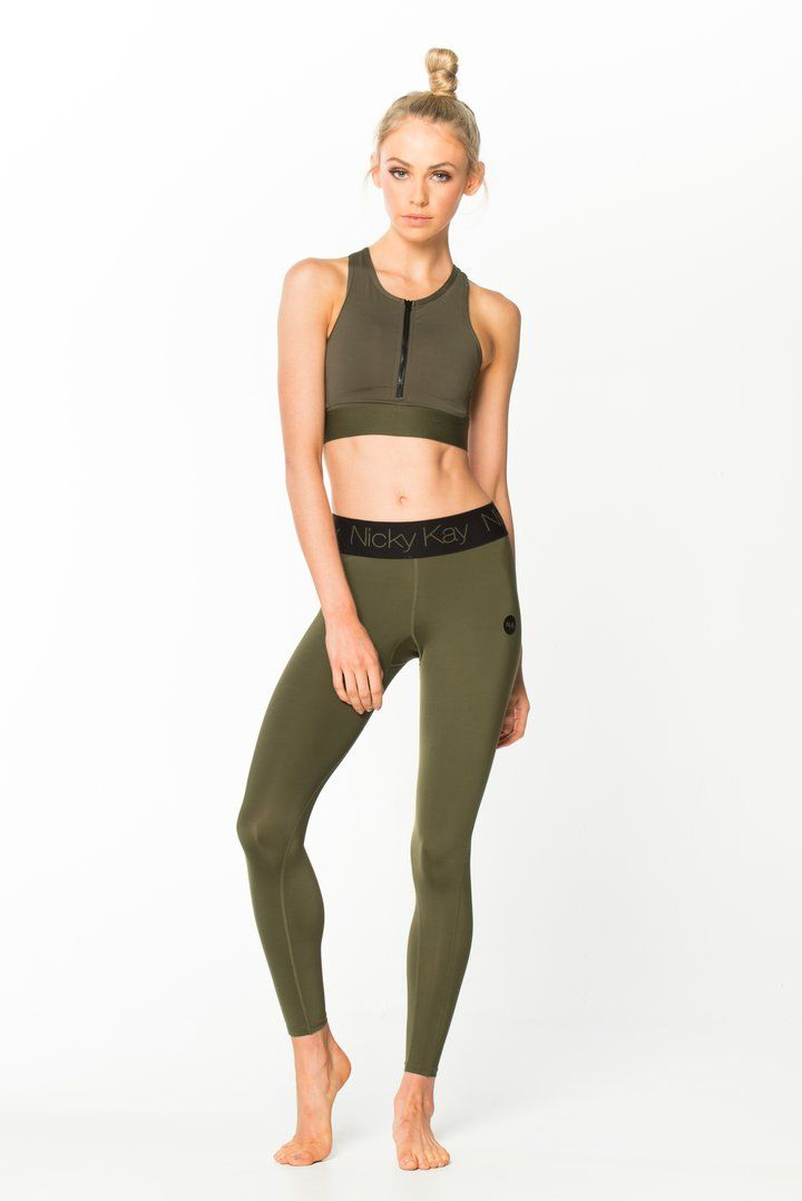 Nicky Kay FitGlam Compression Tights - Khaki w/ Black Waistband