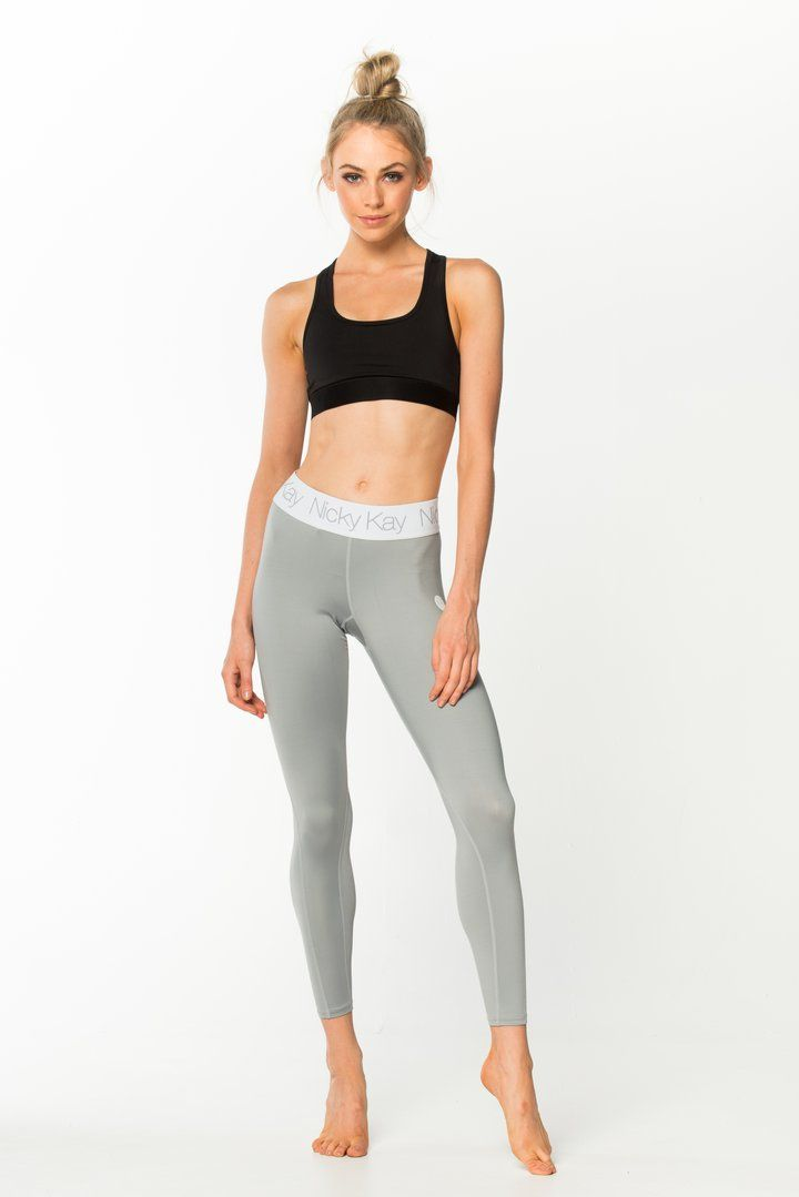 Nicky Kay FitGlam Compression Tights - Light Grey w/ White Waistband
