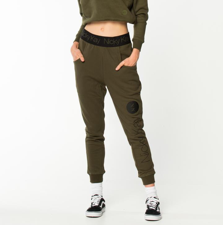 Nicky Kay GoalDigger Sweatpants - Khaki w/ Black Waistband